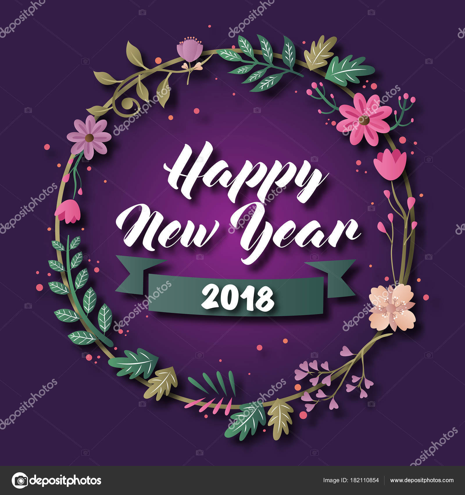 romantic elegant floral theme happy new year 2018 card illustration stock vector