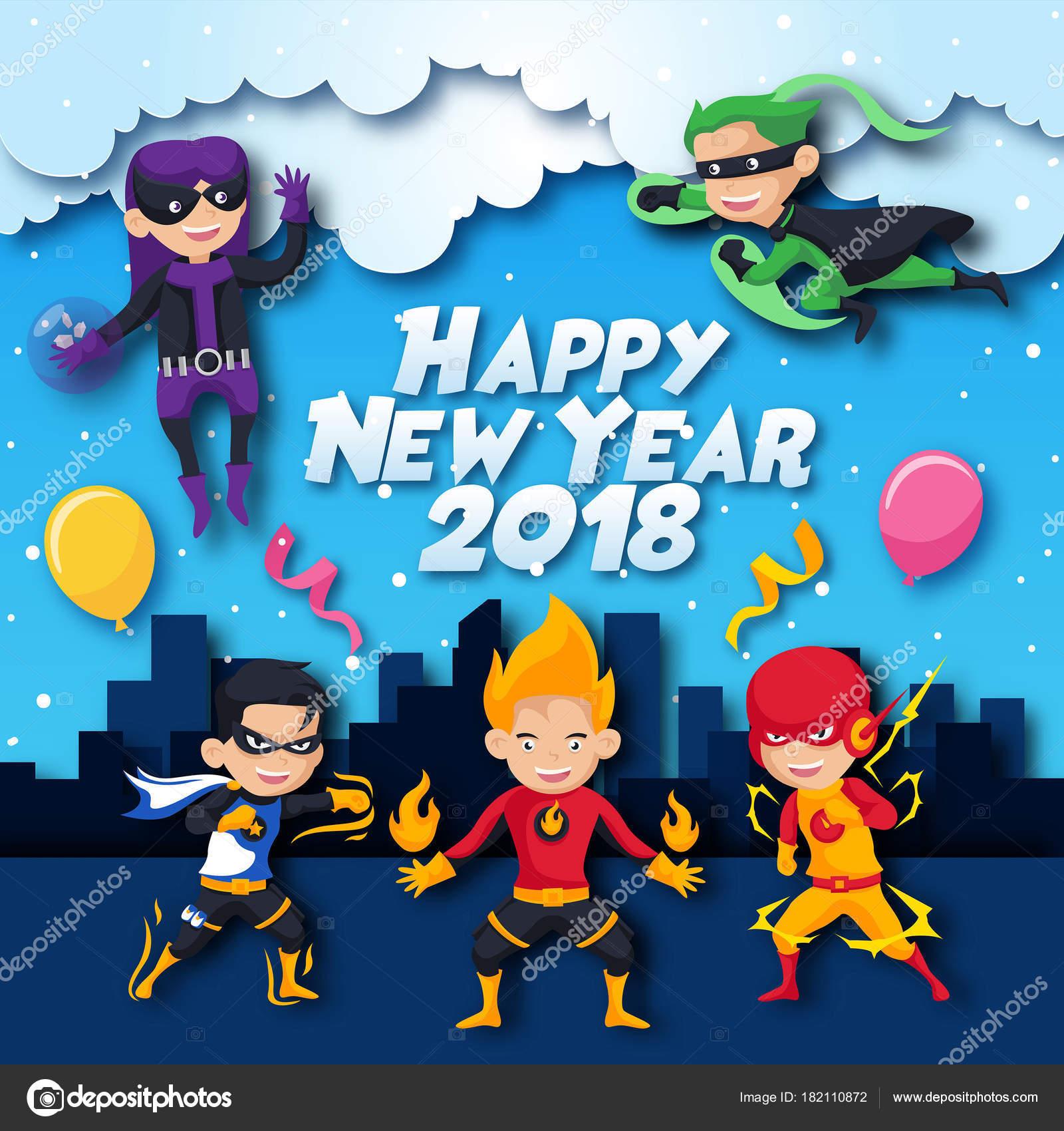 Niños Alegres Lindos Superhéroes Tema Feliz Año Nuevo 2018