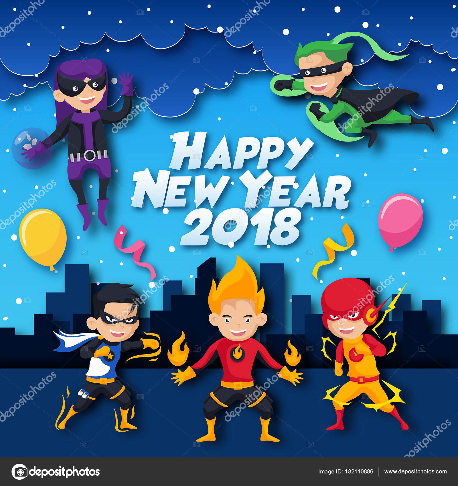cute cheerful kids superheroes theme happy new year 2018 paper art card illustration suitable for children greeting card party invitation