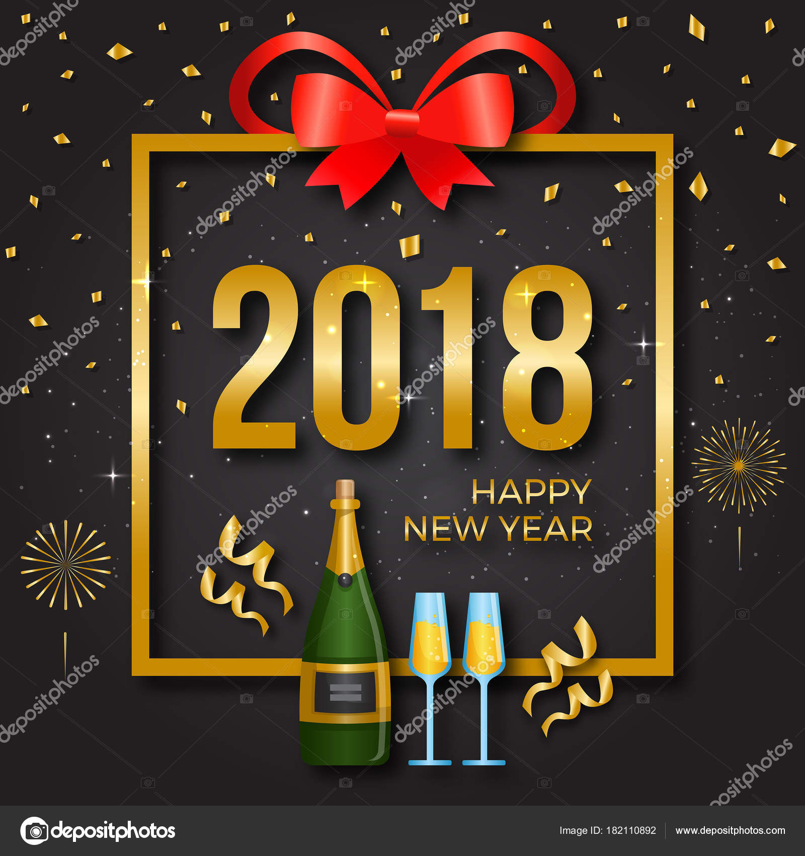 modern happy new year 2018 card illustration suitable for greeting card party invitation and social media vector by naulicreative