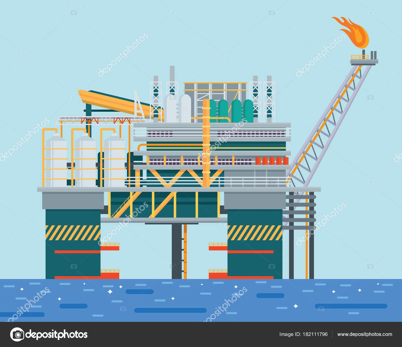 Equipamento Moderno Petróleo Offshore Ilustração ...