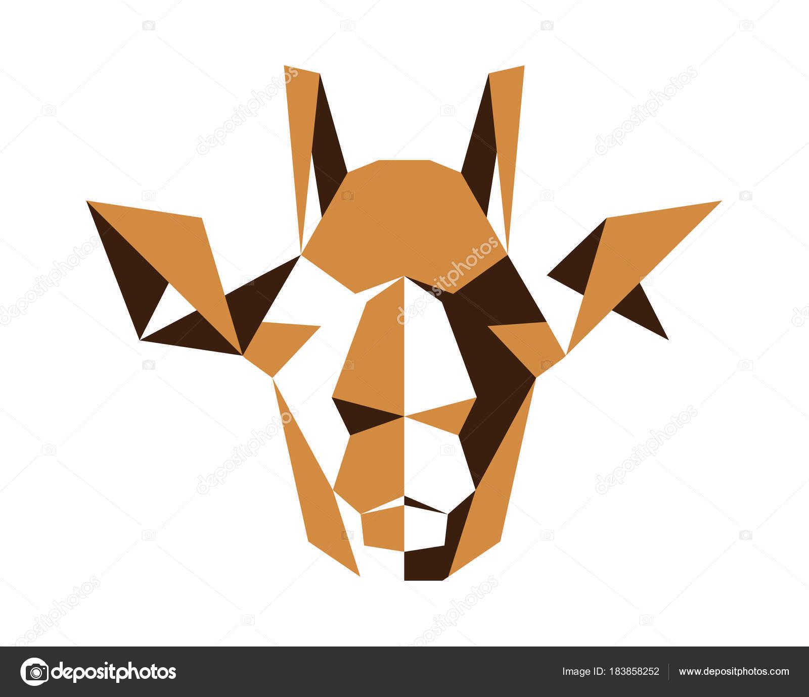 Polygonal Symmetrical Abstract Animal Logo Giraffe Stock Vector