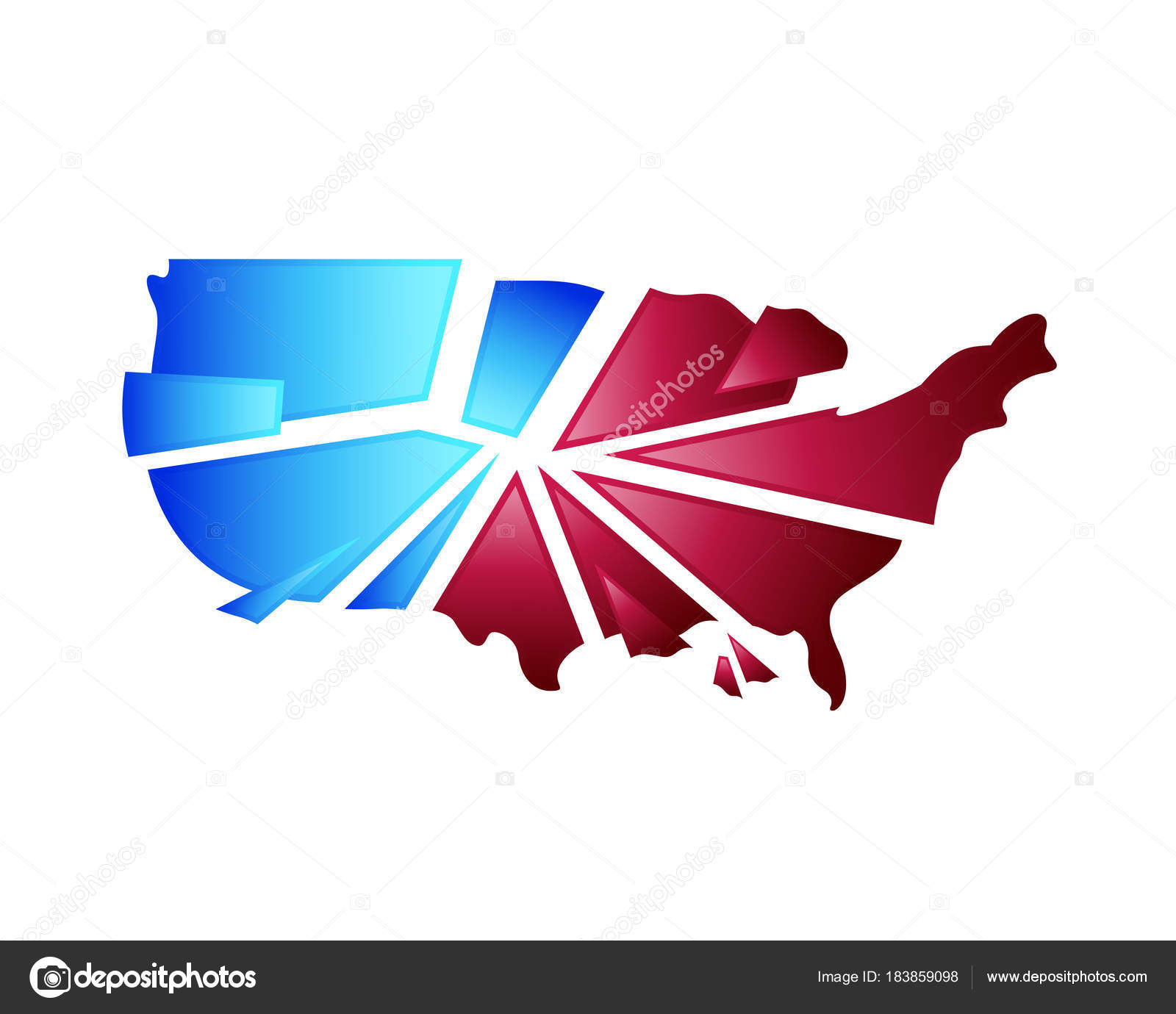 American Map Vector.Modern Creative American Map Logo Abstract Broken Glass America Map