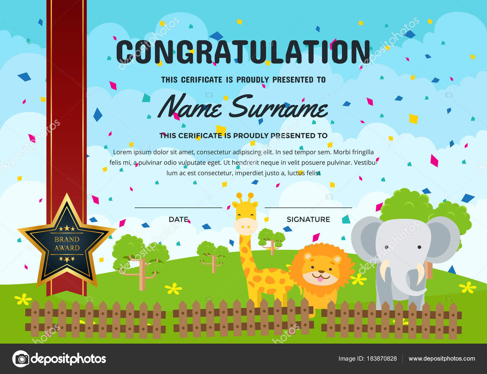 Cute children certificate achievement appreciation template cute children certificate achievement appreciation template graduation theme certificate stock vector yelopaper Choice Image