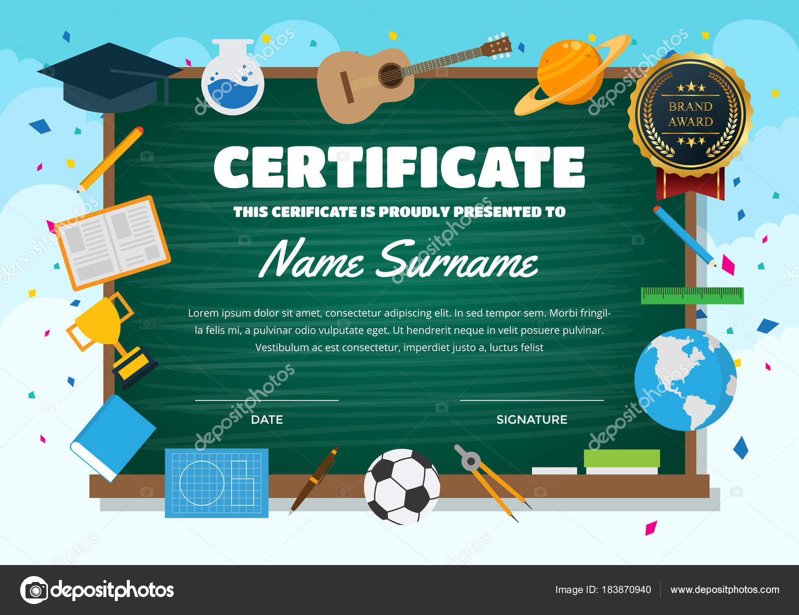 Cute children certificate achievement appreciation template cute children certificate achievement appreciation template education theme certificate stock vector yelopaper Images
