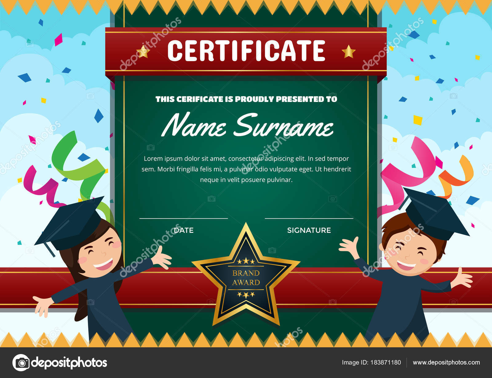 Cute children certificate achievement appreciation template cute children certificate achievement appreciation template graduation theme certificate stock vector yelopaper Images