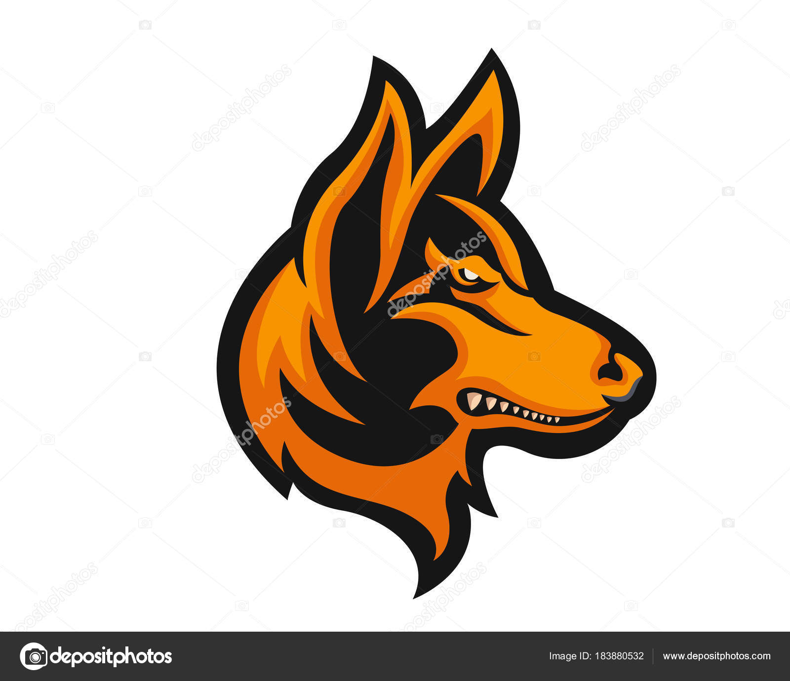 fierce angry dog character logo german shepherd stock vector rh depositphotos com German Shepherd Silhouette Clip Art German Shepherd Drawings