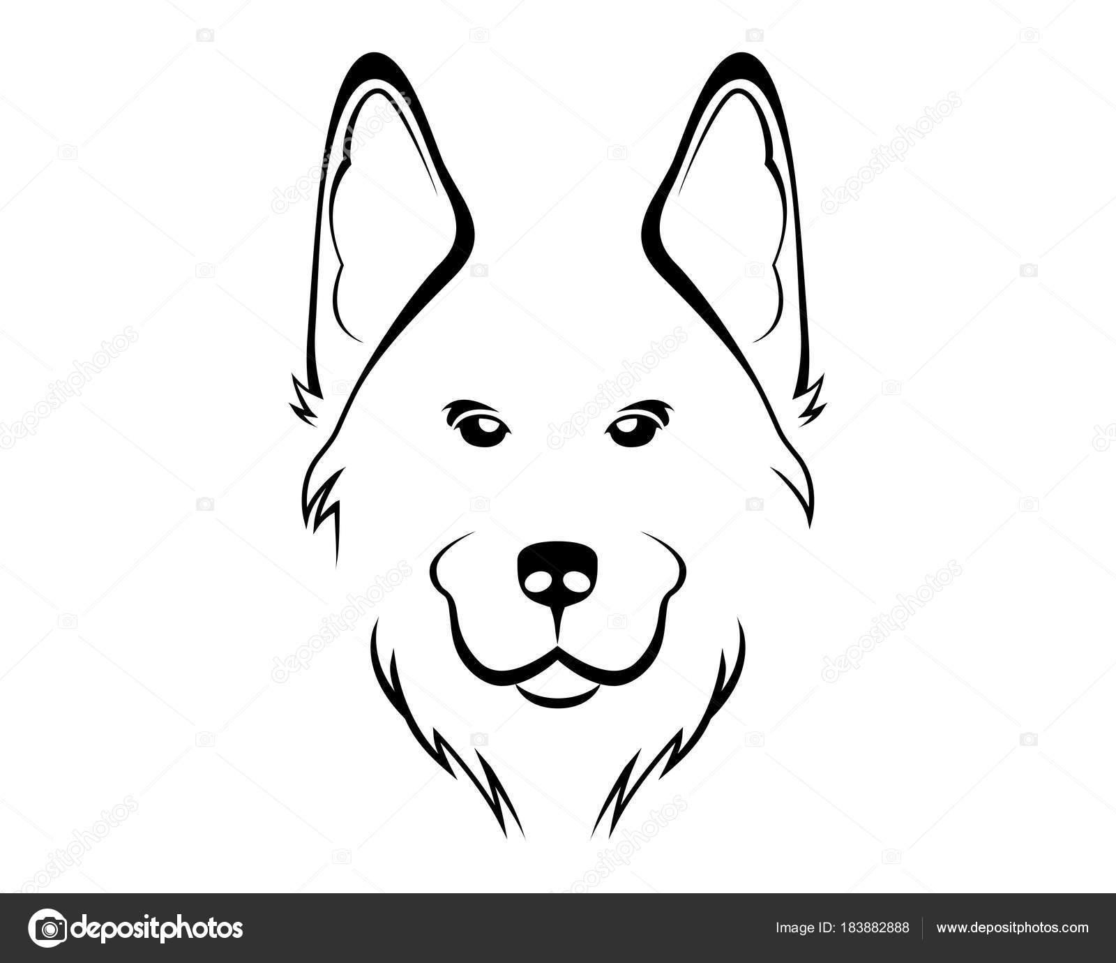 Imagenes Pastor Aleman Para Colorear Perro Raza Linea Arte Logo