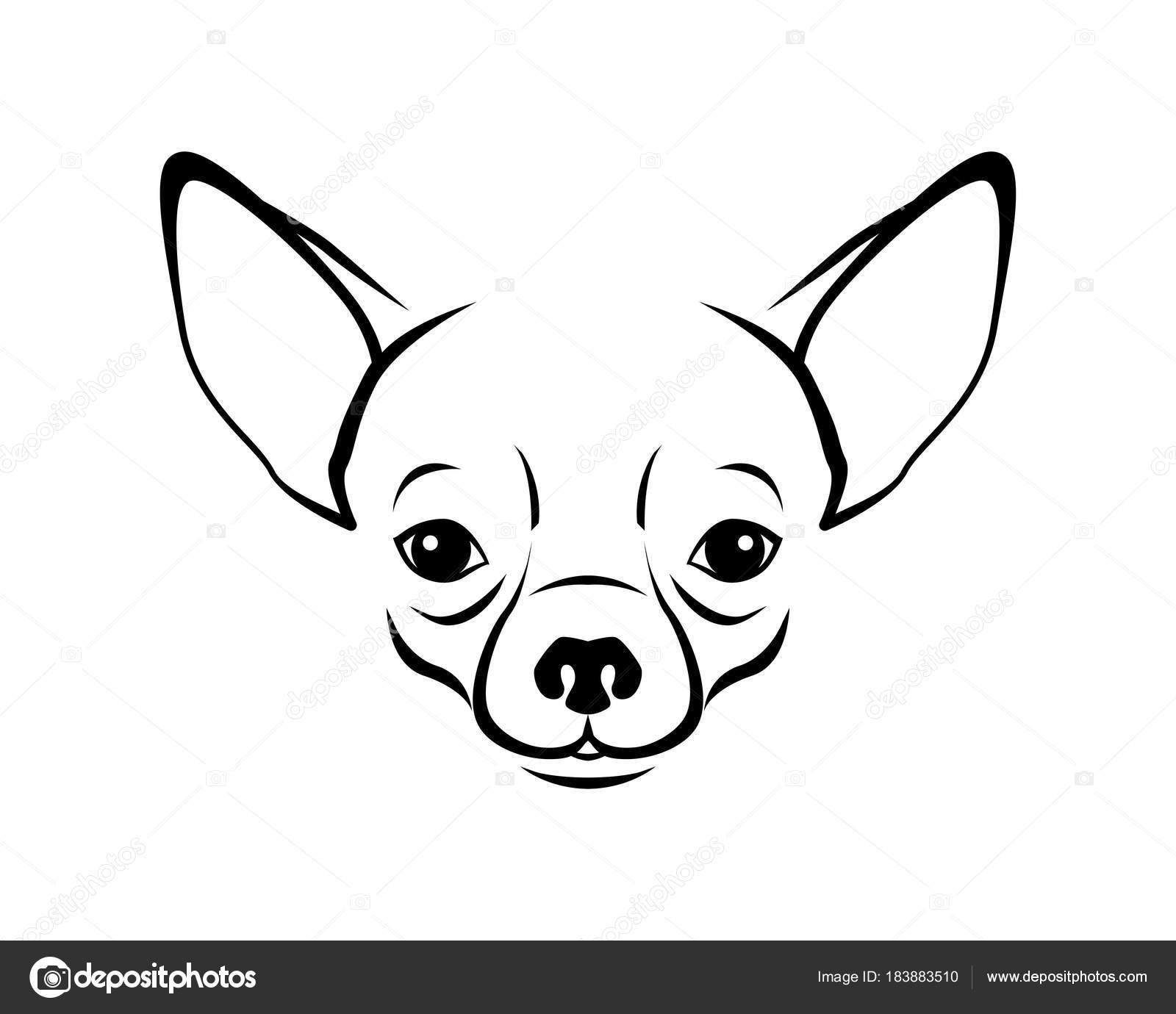Perro Raza Línea Arte Logo Chihuahua — Archivo Imágenes Vectoriales ...