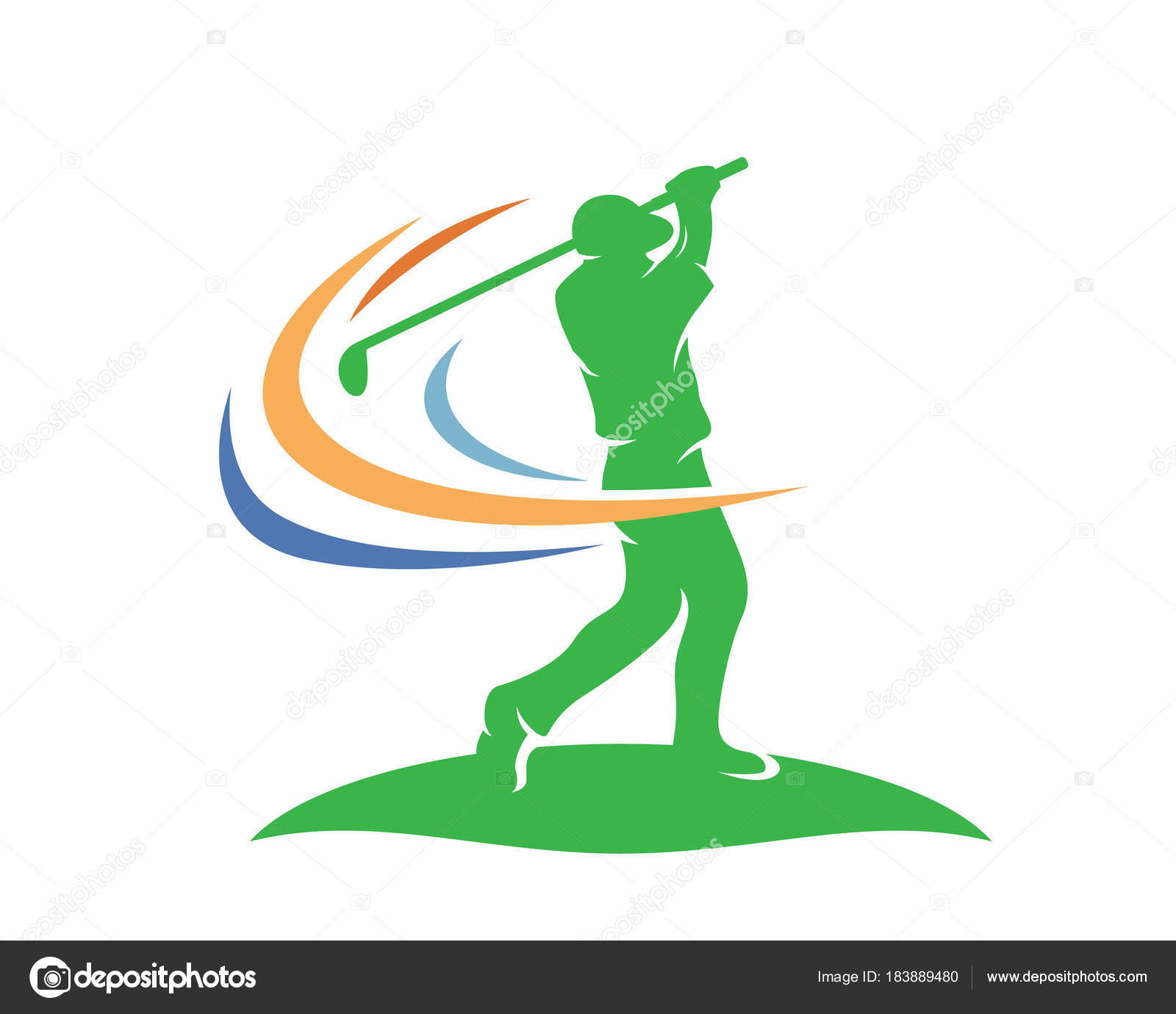 Modern Golf Logo Professional Golfer Athlete Winning Swing ...