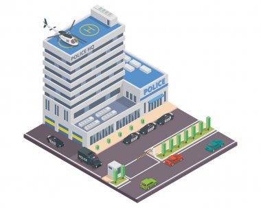 Modern Isometric Police Headquarters Building