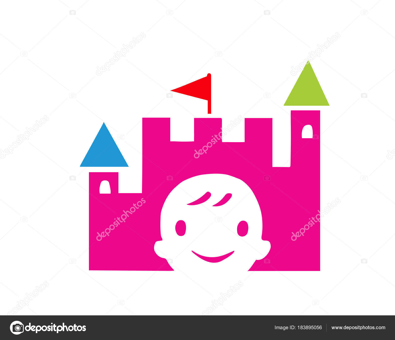 Modern Children Education Logo Kids Kingdom Education Symbol Stock