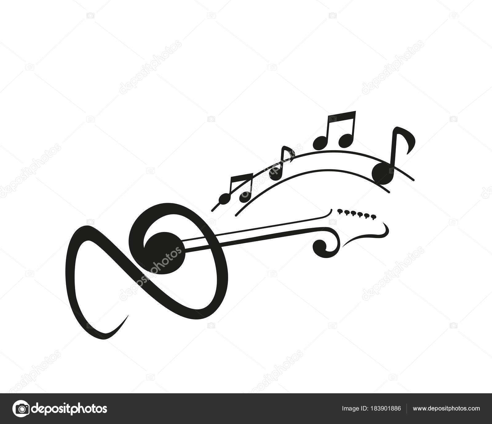 Modern Music Logo Abstract Clef Guitar Music Notation Symbol Stock