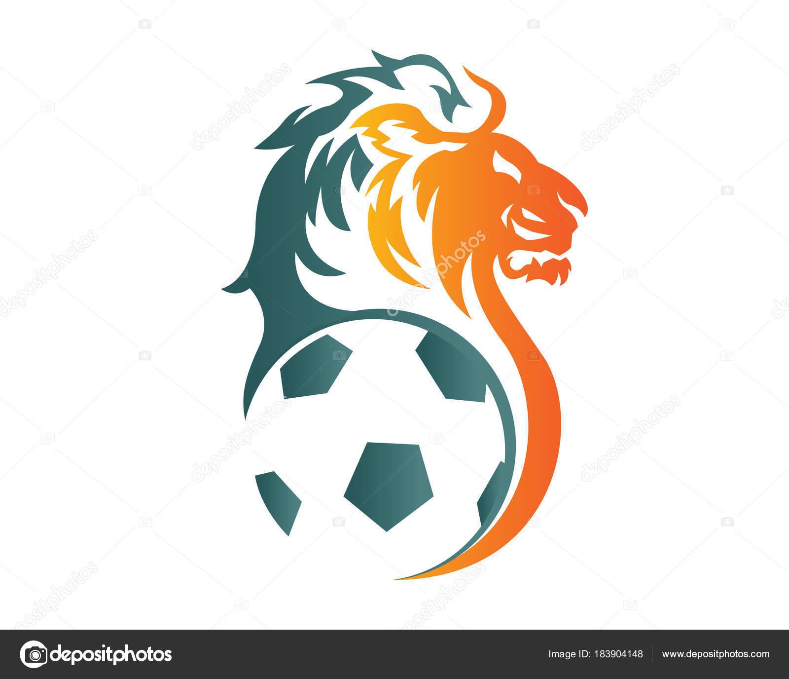 モダンな自信動物スポーツ イラスト サッカー ライオンのシンボル