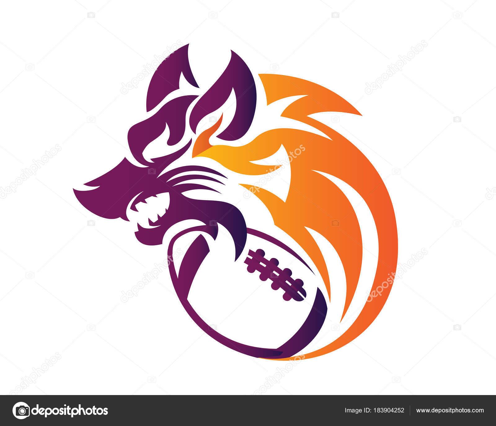 モダンな自信動物スポーツ イラスト アメリカン フットボール狼シンボル