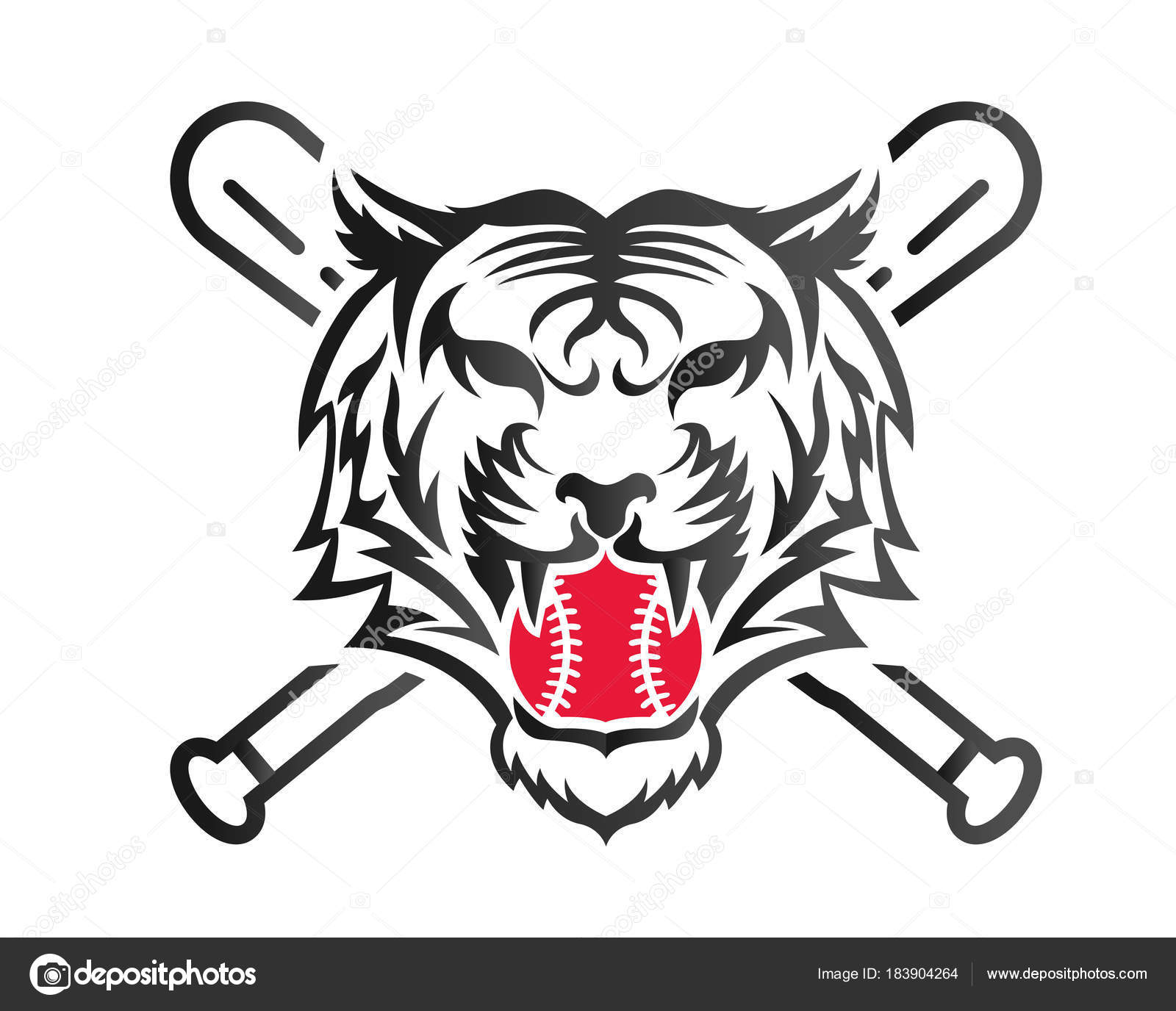 Modern Confidence Animal Sport Illustration Logo Baseball Tiger
