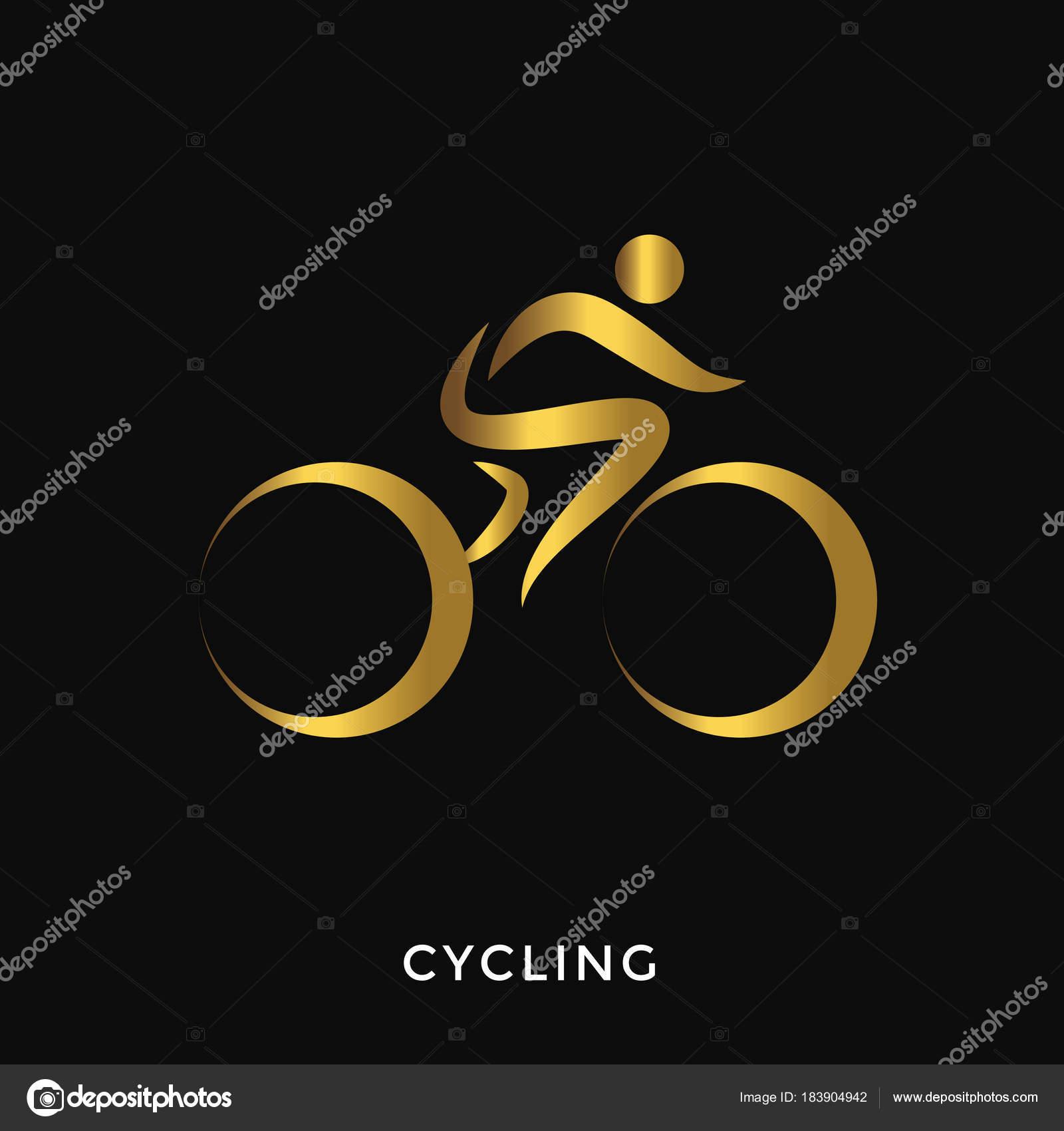 727158ebbc Moderní elegantní zlaté letní sportovní Logo - Cyklistika — Vektor od ...