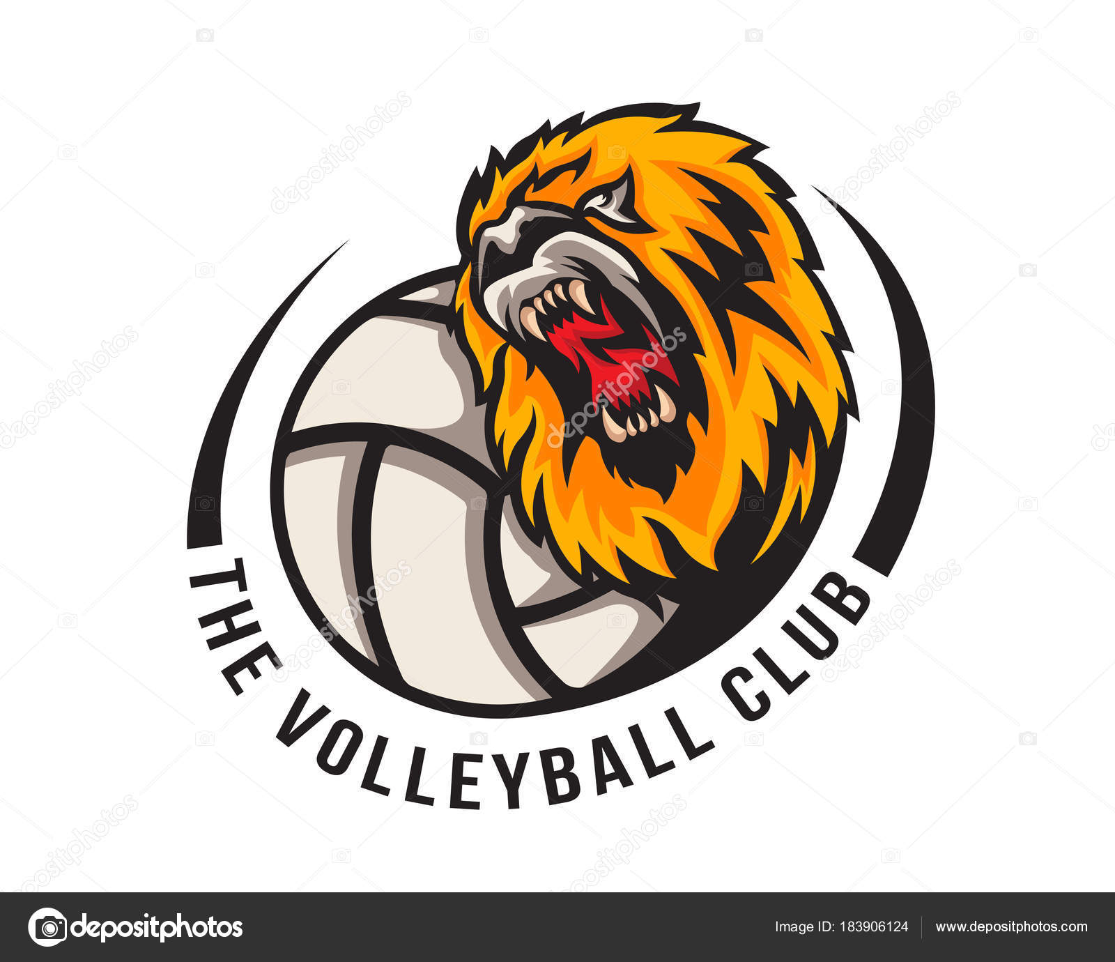 Modern Volleyball Logo Aggressive Lion Volleyball Ball Illustration Stock Vector C Naulicreative 183906124