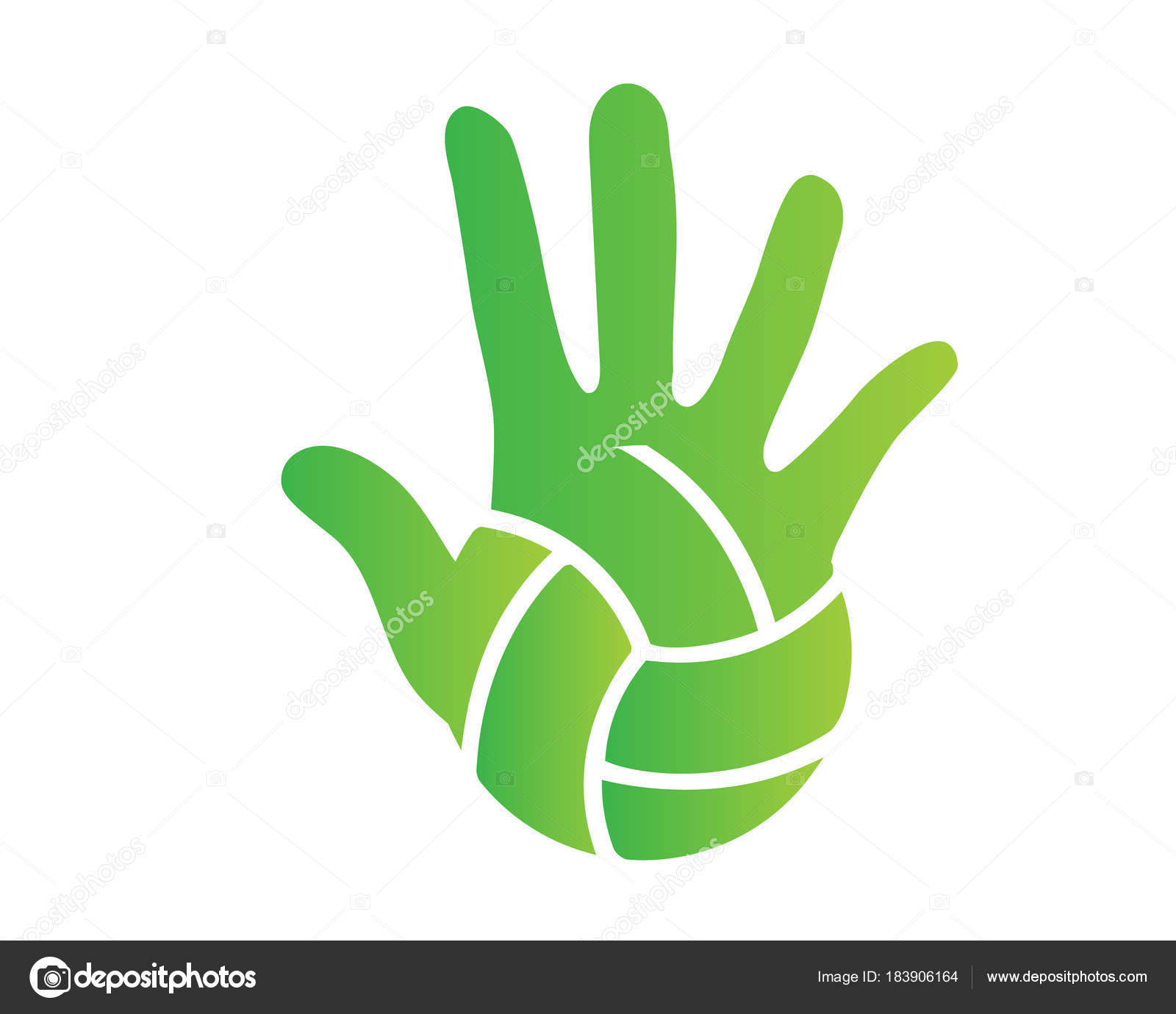 Modern Volleyball Logo Green Hand Palm Volleyball Ball Symbol