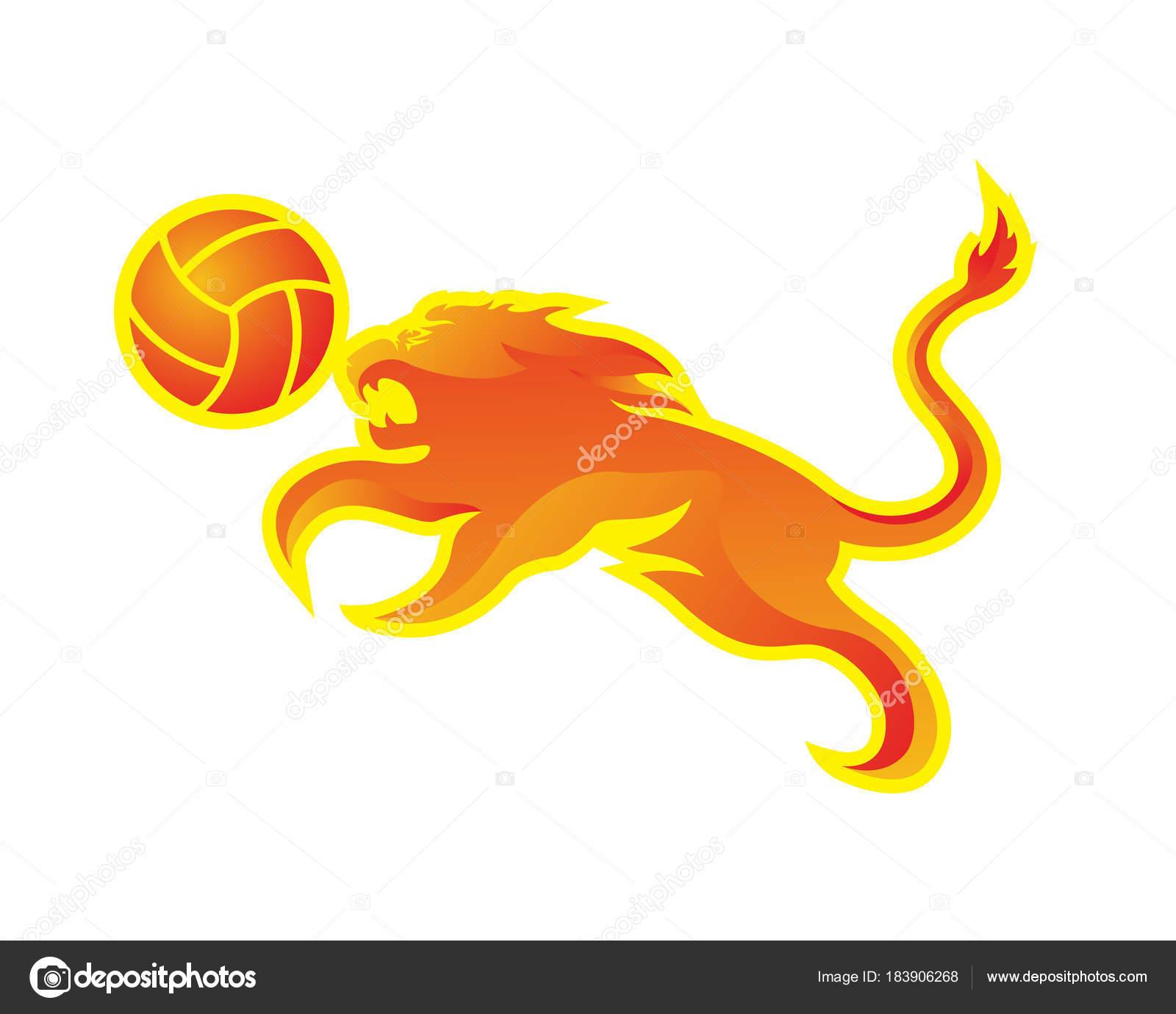 Modernen Volleyball Logo Leidenschaftliche Flammende Löwe Und ...