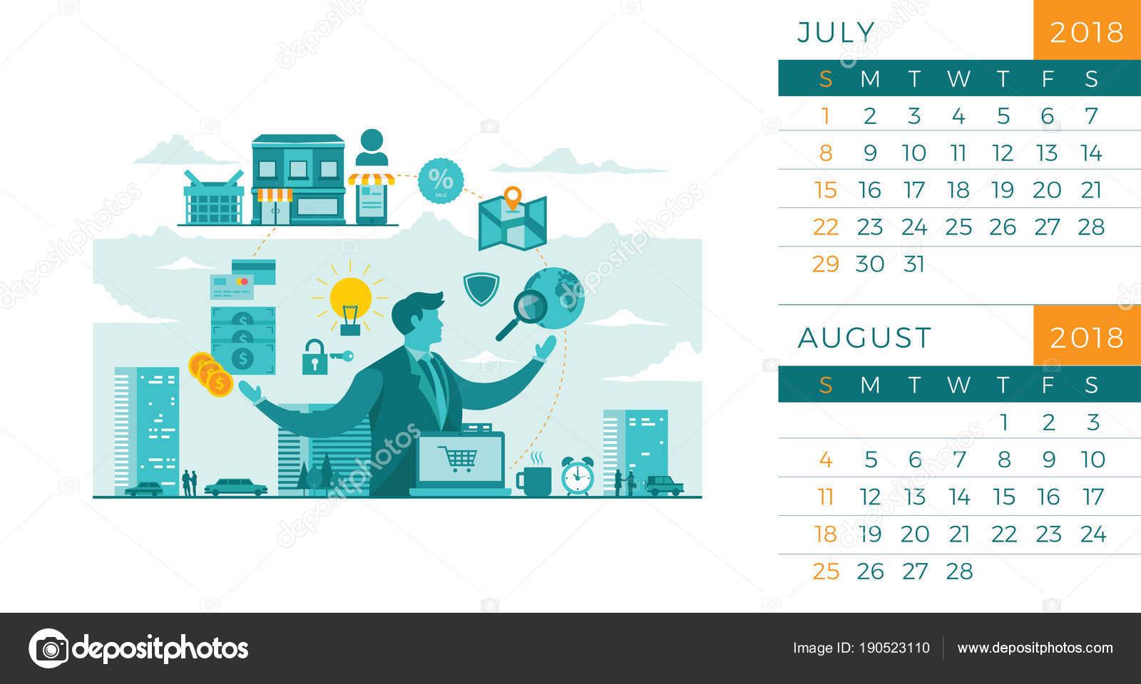 Calendario Luglio Agosto.Modello Illustrazione Moderna 2018 Reception Tecnologia