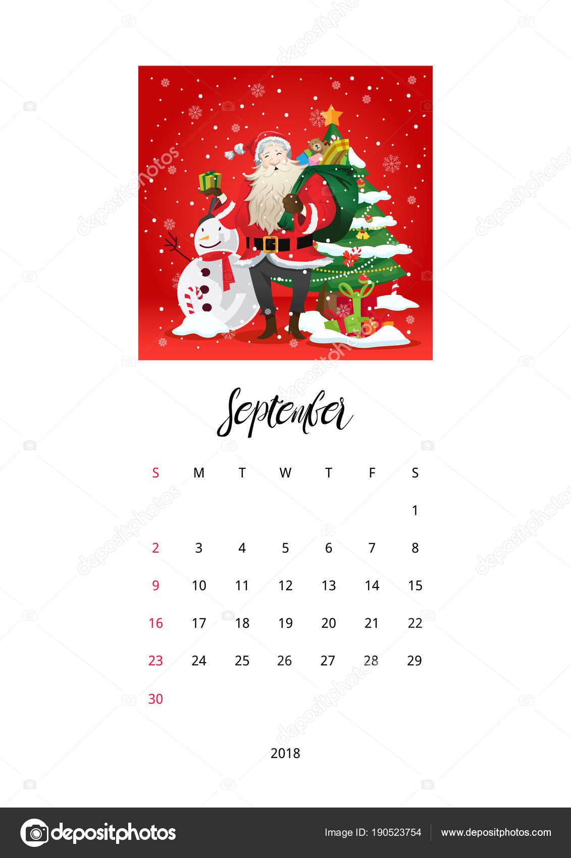 Frohe Weihnachten Feier 2018 Kalendervorlage September — Stockvektor ...