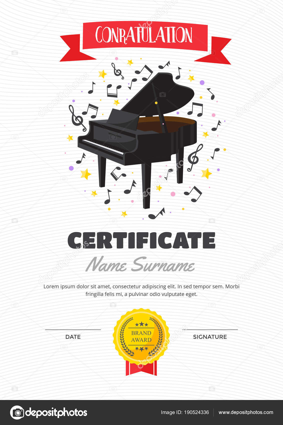 Cute children piano class certificate achievement appreciation cute children piano class certificate achievement appreciation template stock vector yelopaper Choice Image