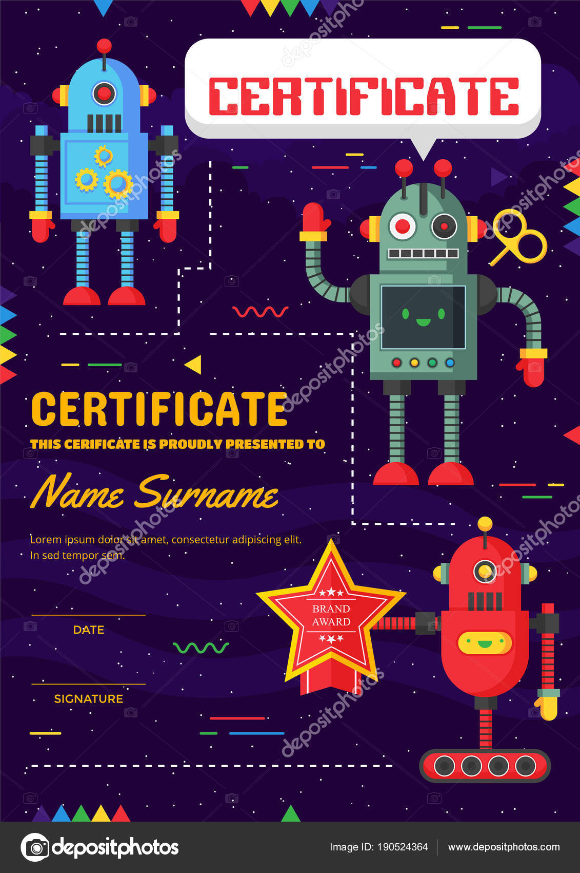 Cute children robotic class certificate achievement appreciation cute children robotic class certificate achievement appreciation template stock vector yelopaper Choice Image