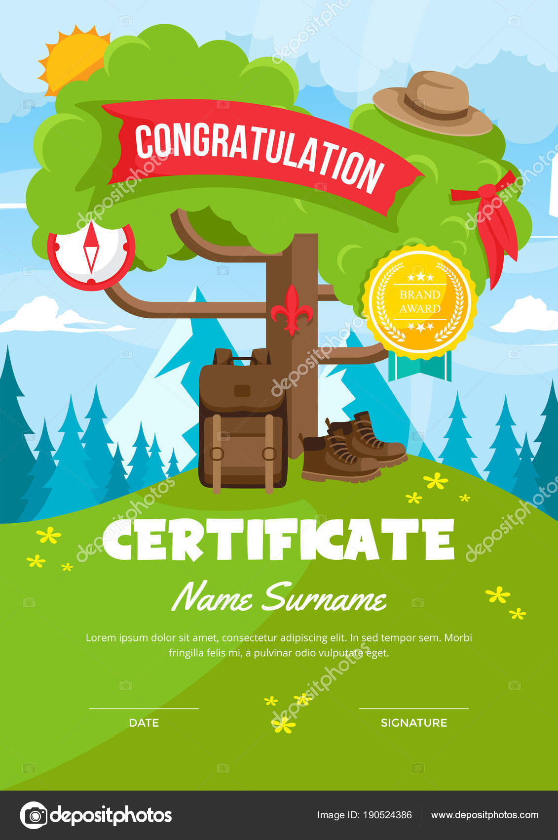 Cute children scout adventure camp certificate achievement cute children scout adventure camp certificate achievement appreciation template stock vector yelopaper Choice Image