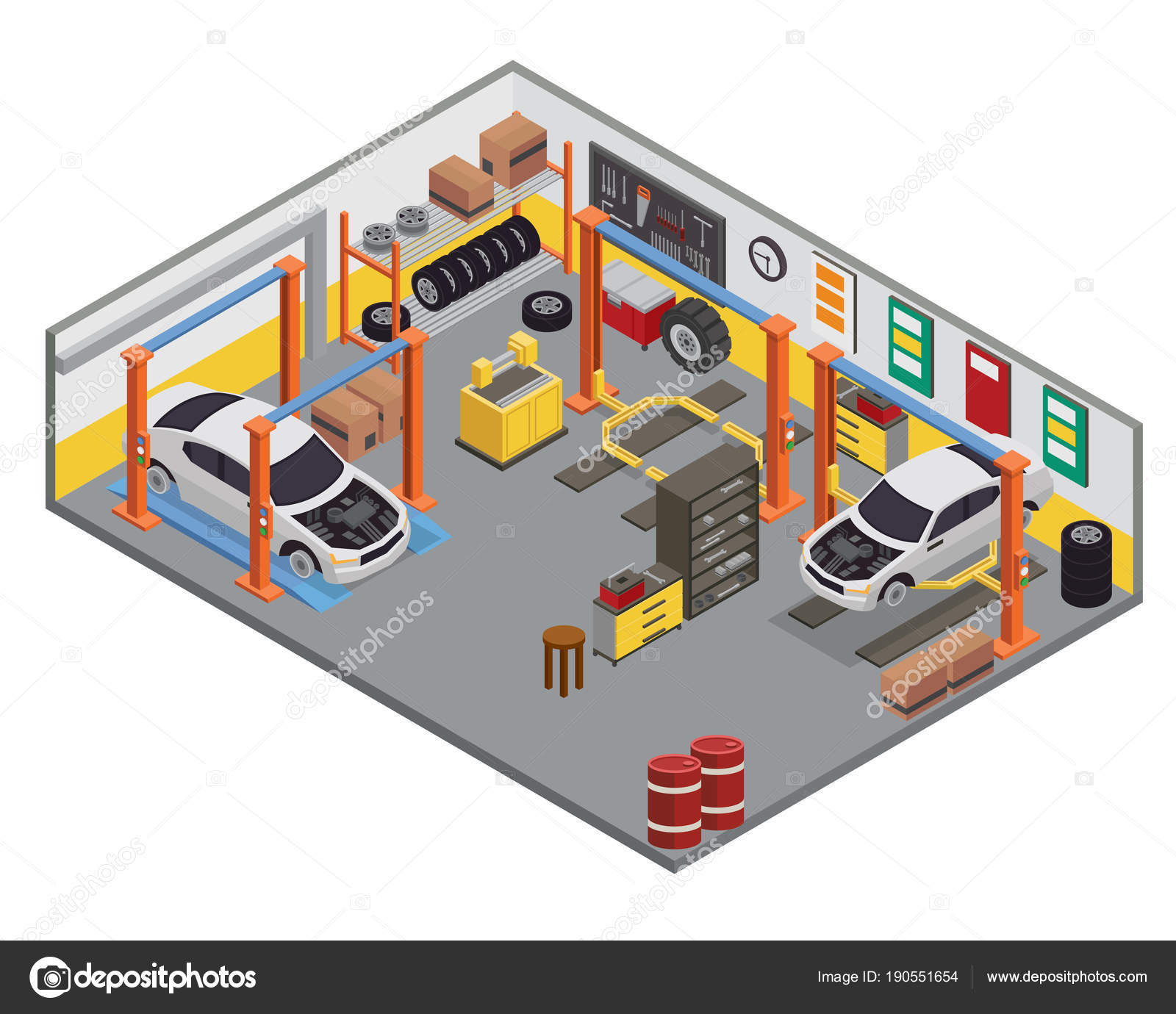 Modern Isometric Car Workshop Garage Interior Design Stock Vector