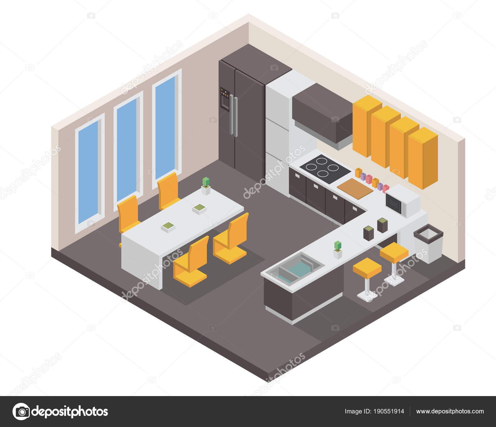 Amazing Modernen Isometrische Luxus Haus Küche Interior Design U2014 Stockvektor