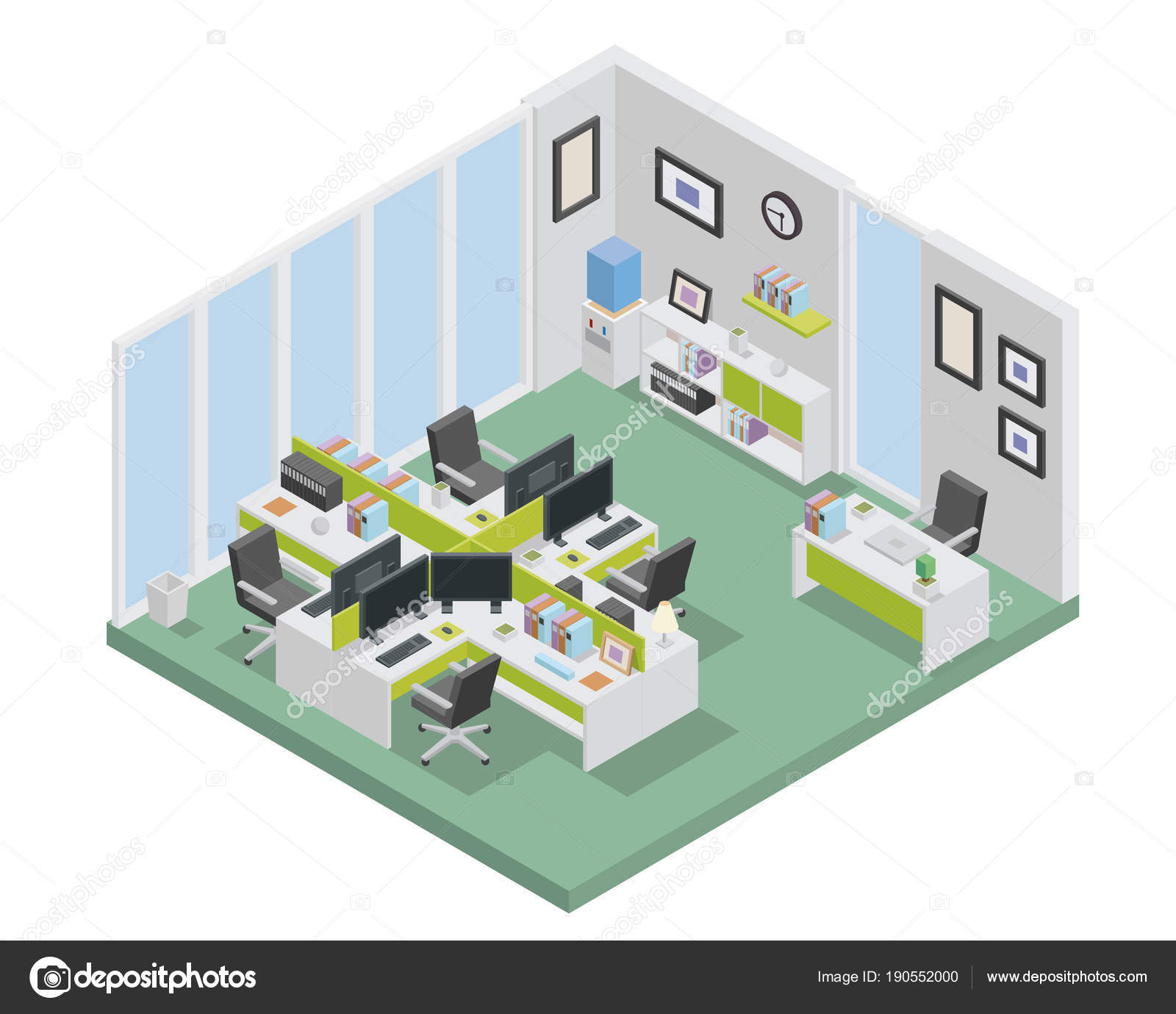 Modern Isometric Startup Creative Office Space Scene Interior Design