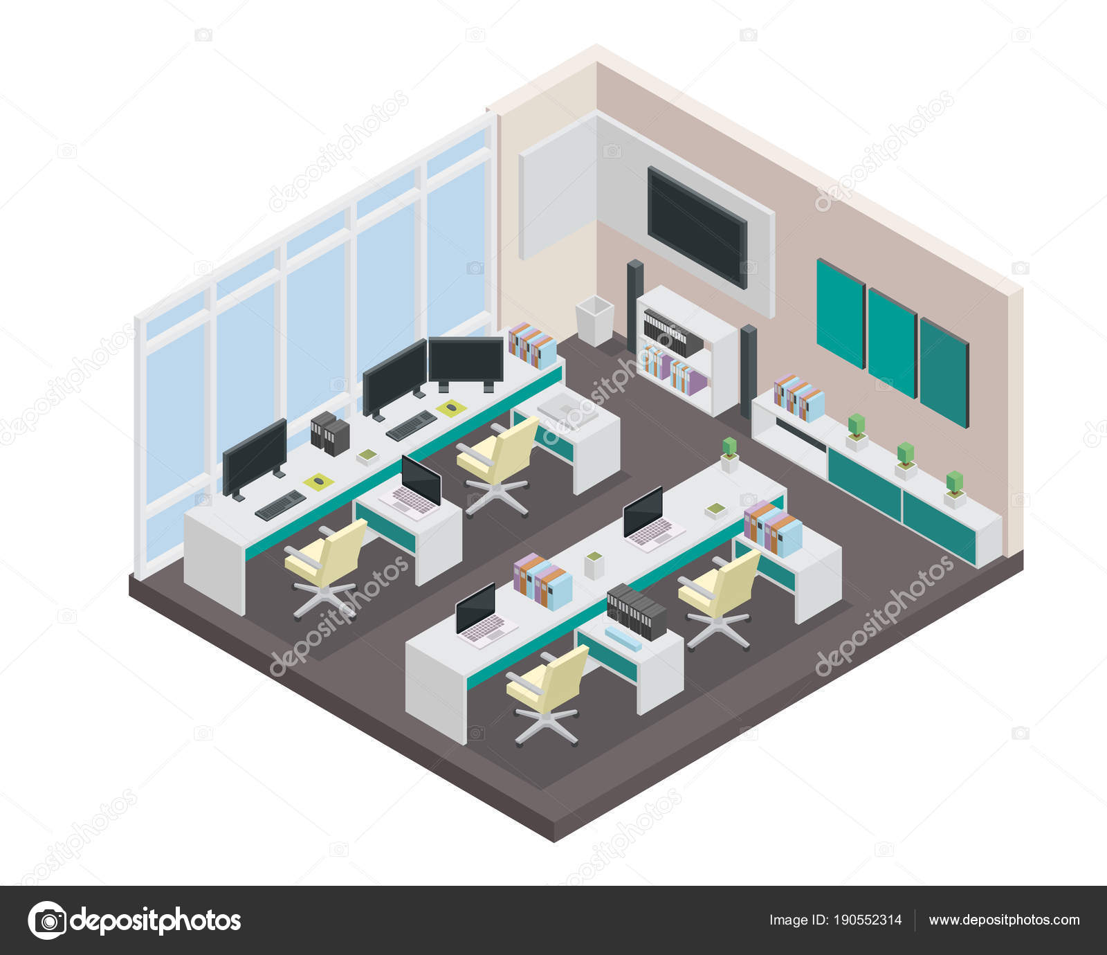 Modern Isometric Startup Creative Office Space Scene