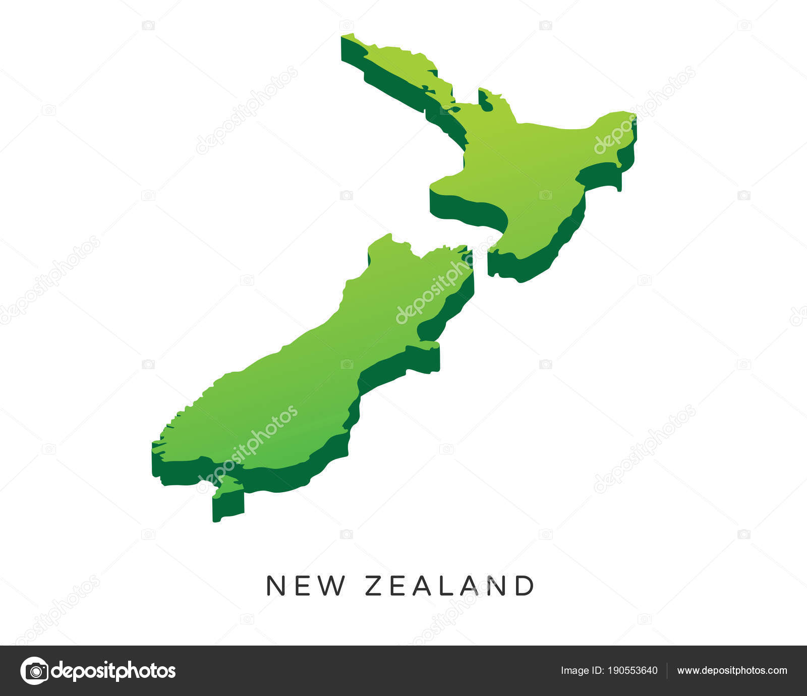 3d Map Of New Zealand.Modern Detail Isometric Map New Zealand Stock Vector
