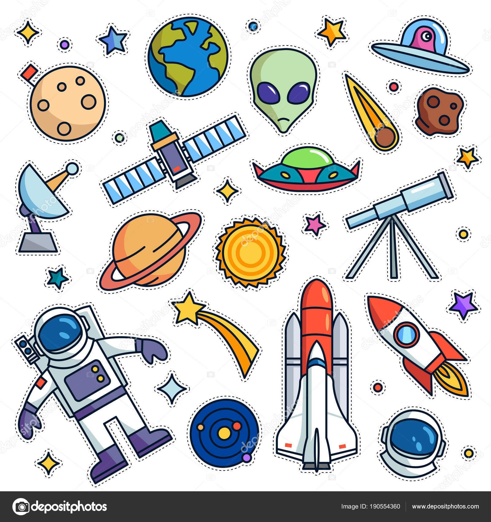 Vintage 80s 90s Space Theme Fashion Cartoon Illustration Set