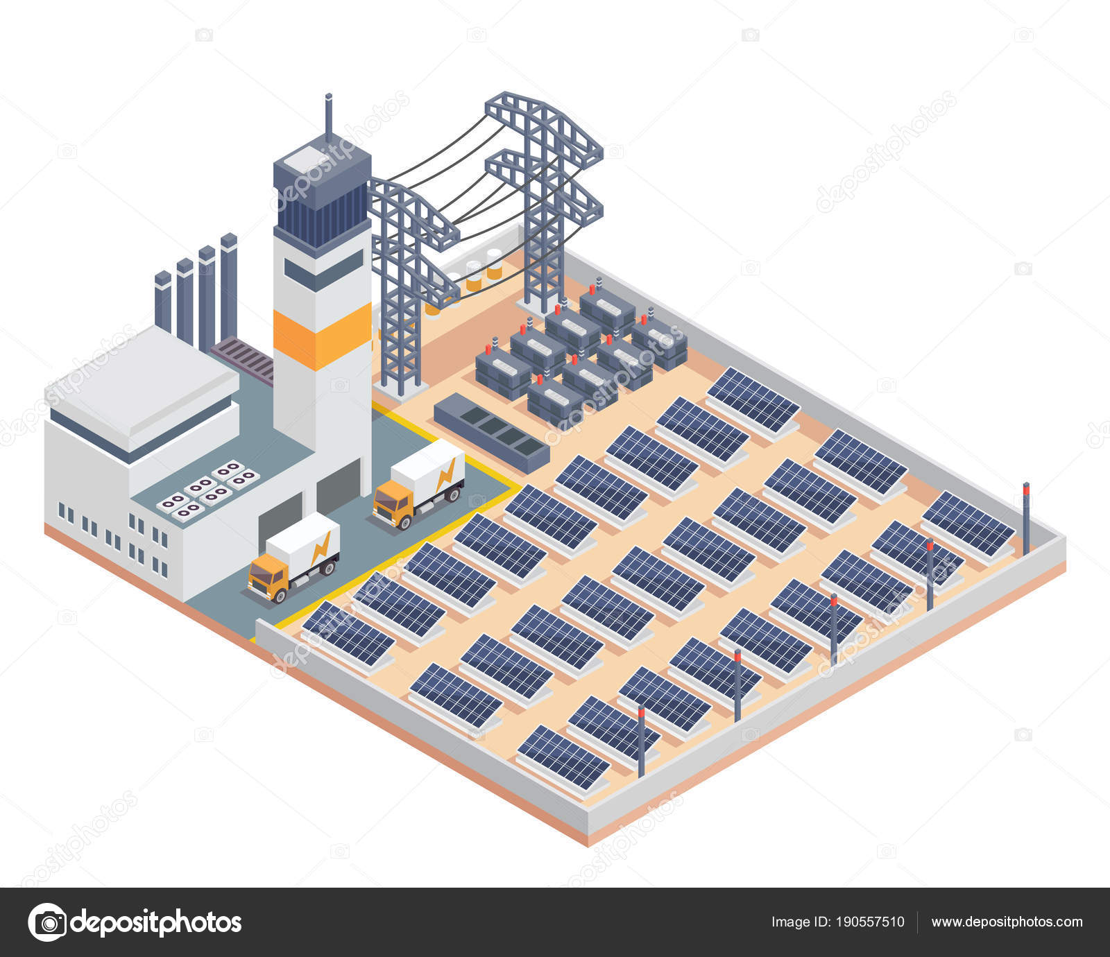 modern isometric industrial electricity solar plant facility building  suitable diagrams — stock vector