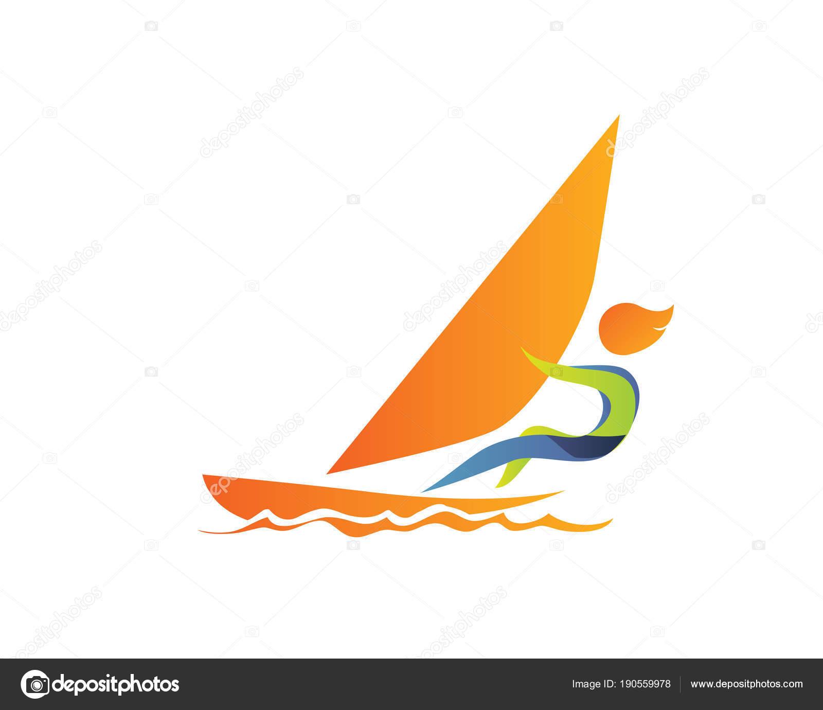 a707293e8 Verão Moderno Esportes Logotipo Símbolo Vela Atleta Silhueta — Vetores de  Stock