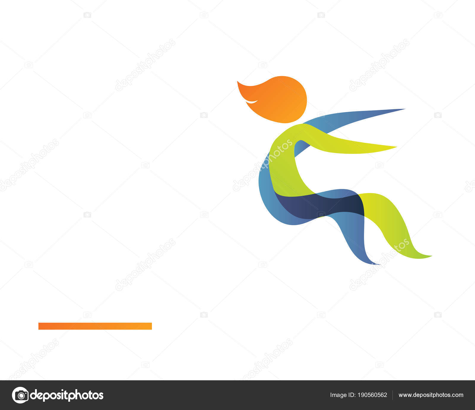Modern summer sports logo symbol long jump silhouette stock vector