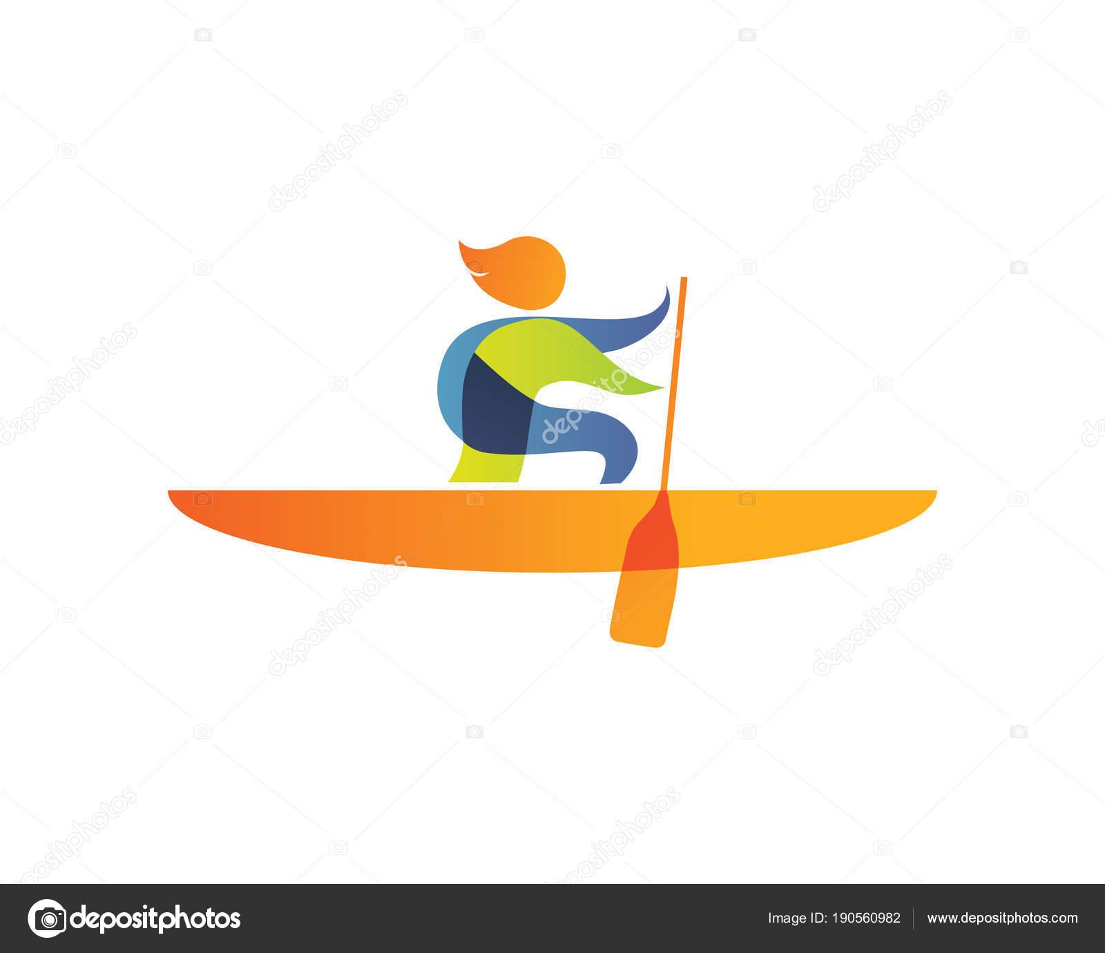 603f06994 Verão Moderno Esportes Logotipo Símbolo Silhueta Remo — Vetores de Stock