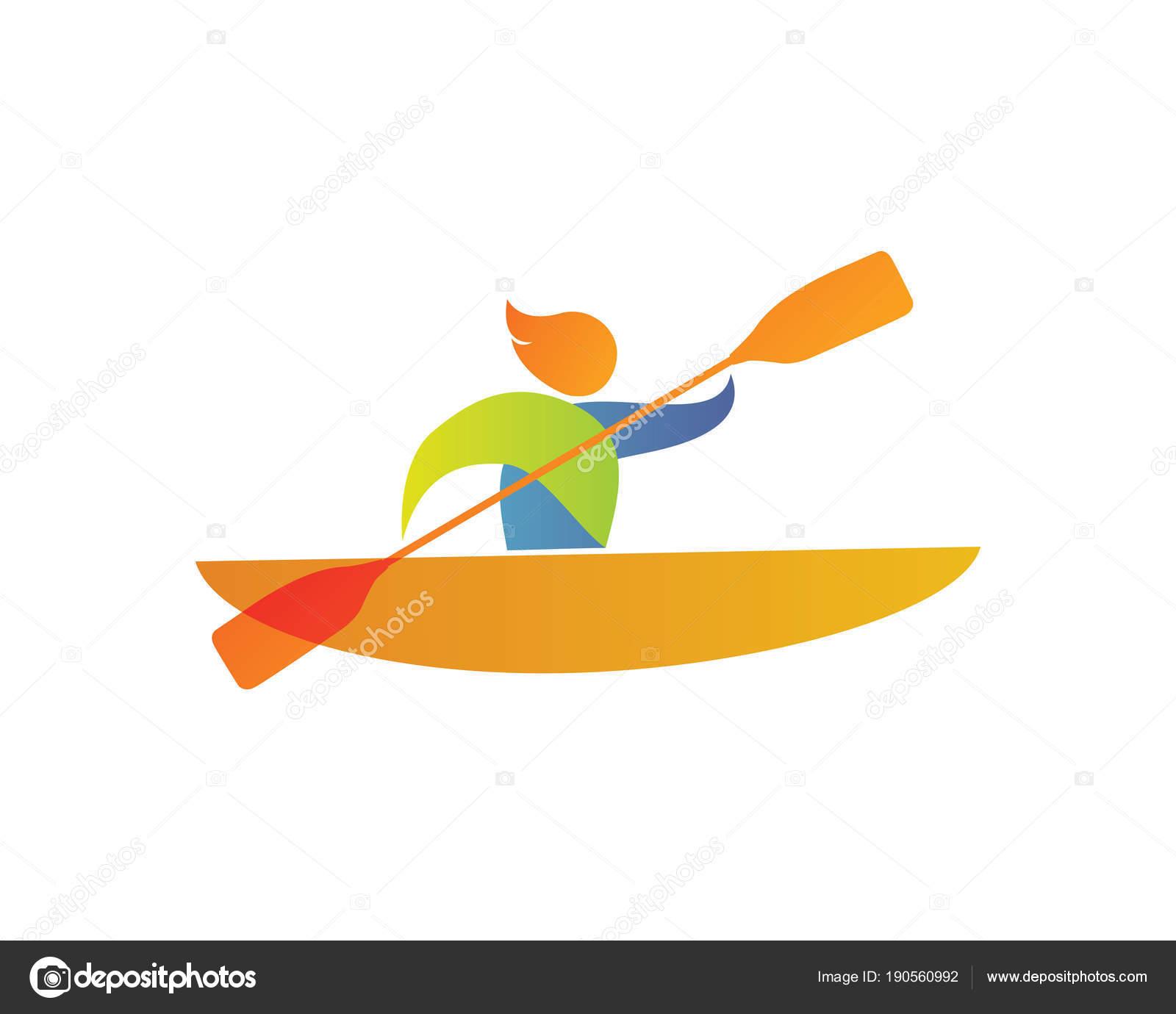 666393d22 Verão Moderno Esportes Logotipo Símbolo Silhueta Canoa — Vetores de Stock