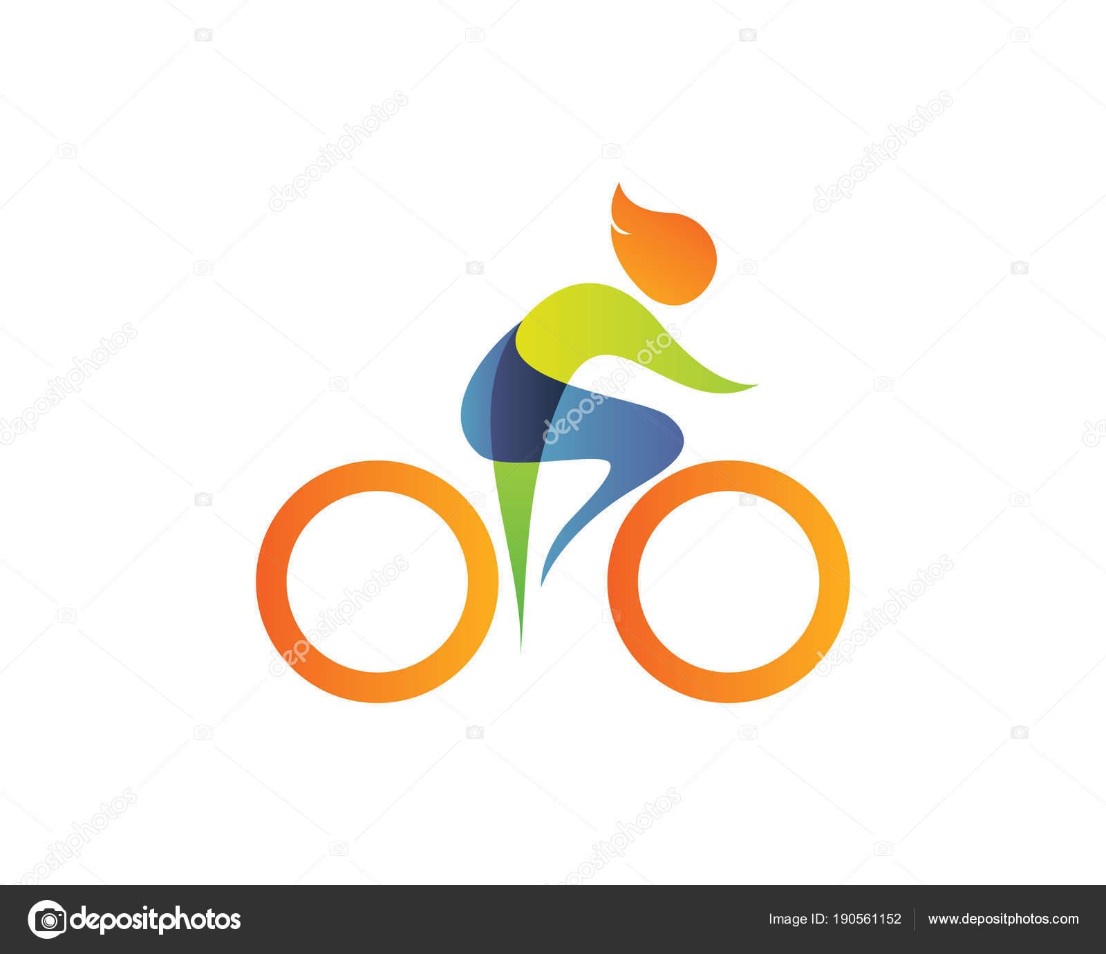 8e8e90645 Verão Moderno Esportes Logotipo Símbolo Silhueta Ciclismo — Vetores de Stock