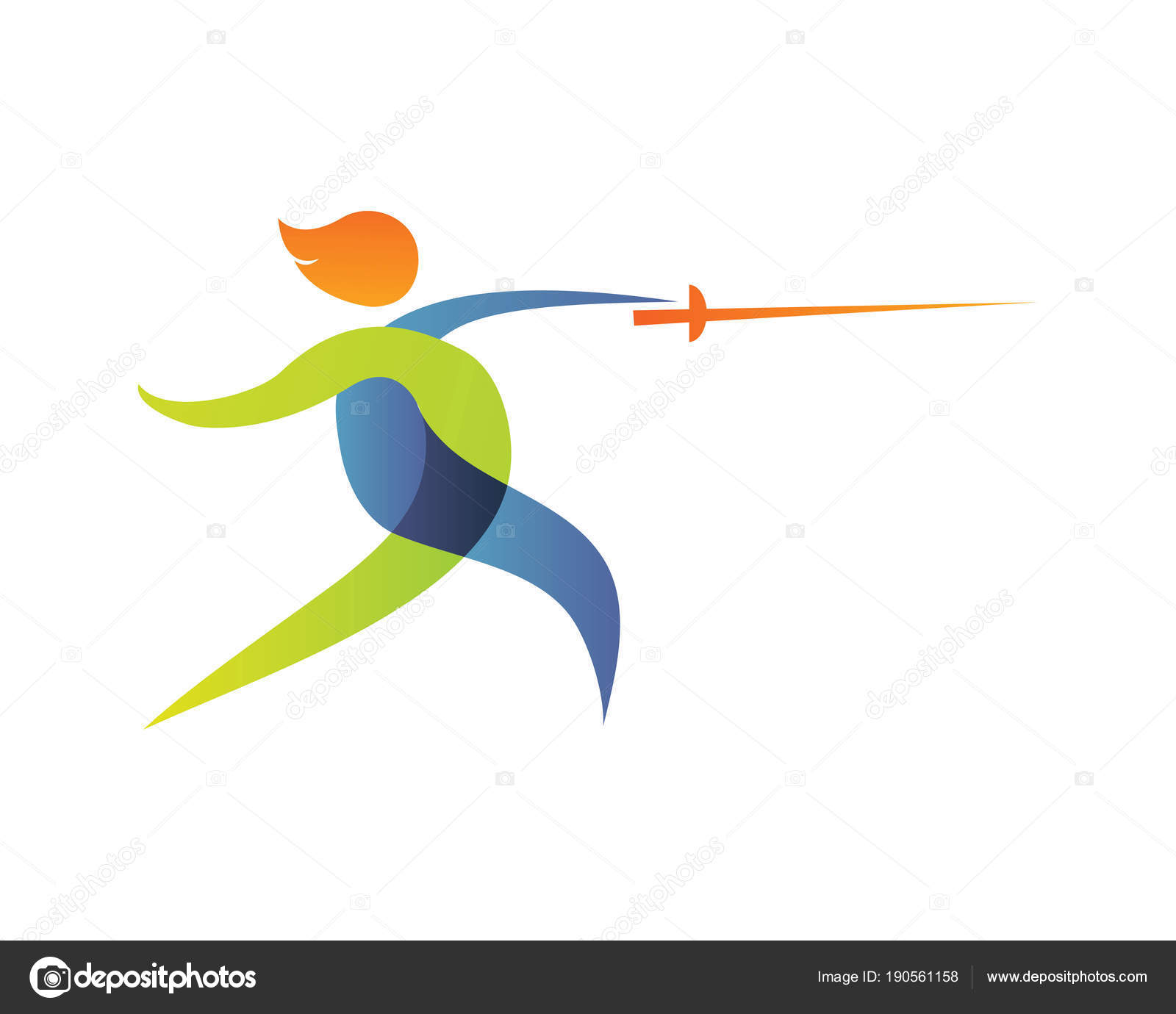18cbbdfc2 Verão Moderno Esportes Logotipo Símbolo Silhueta Esgrima — Vetores de Stock