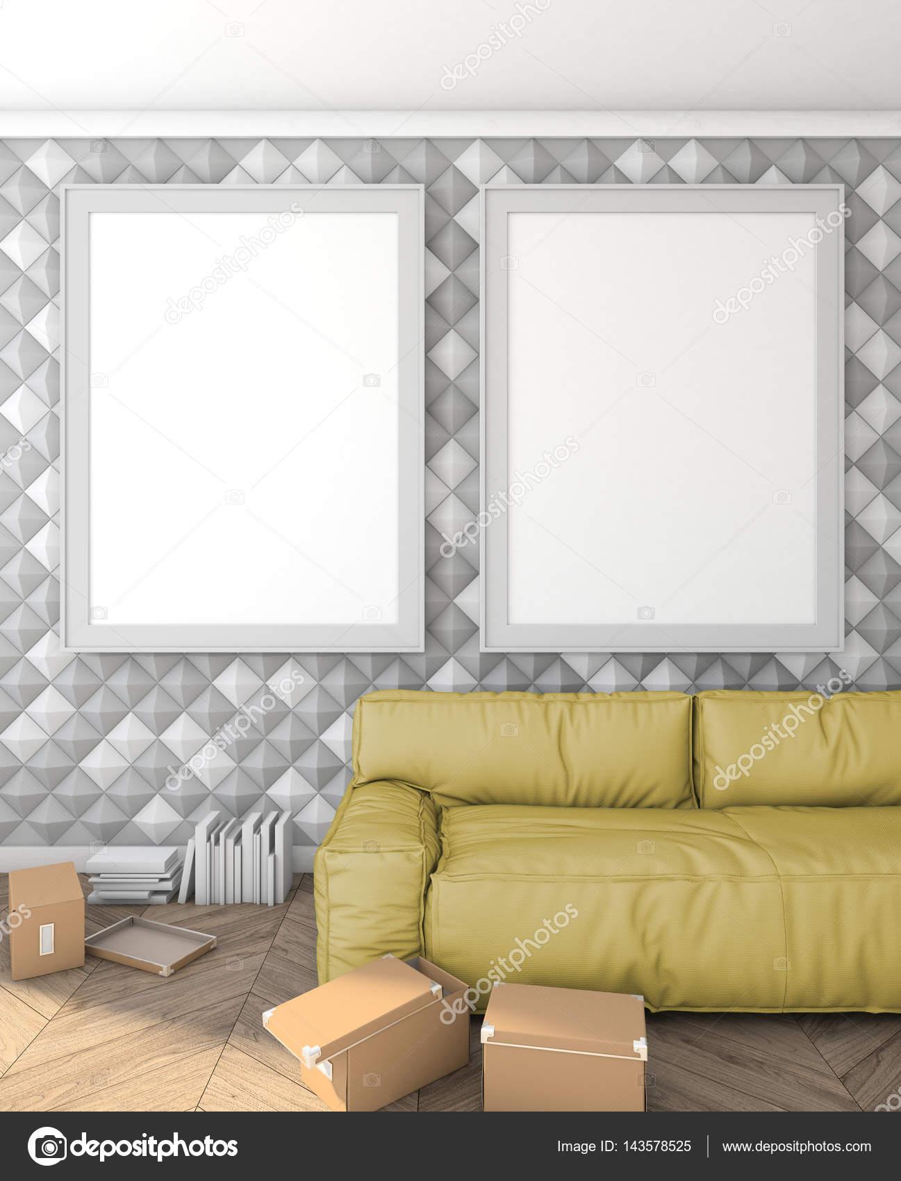 Makiety Plakaty Na ścianie W Nowoczesne Wnętrze Z Sofą Loft