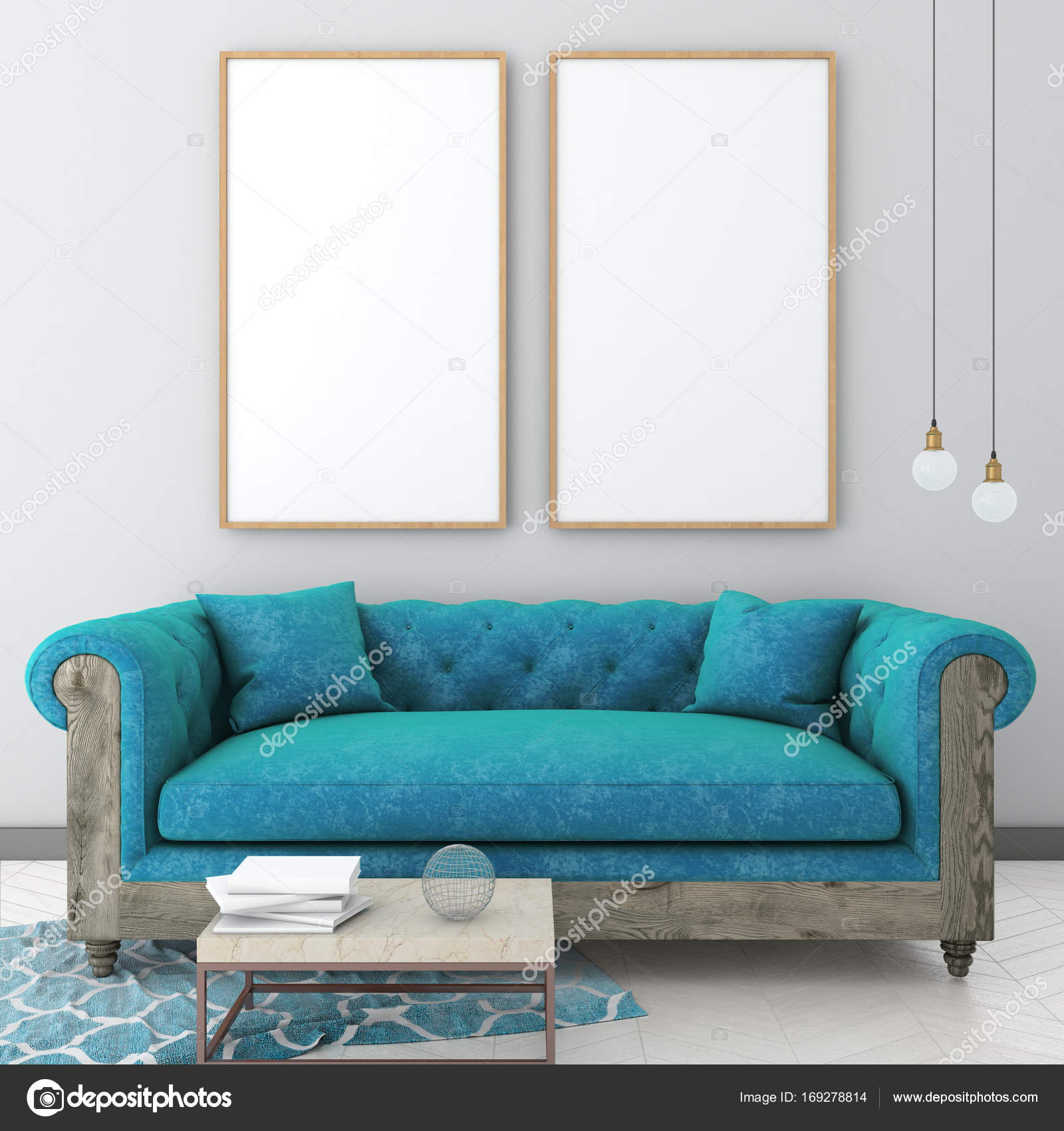 Phenomenal Mock Up Poster Frame In Light Interior Background With Blue Beatyapartments Chair Design Images Beatyapartmentscom