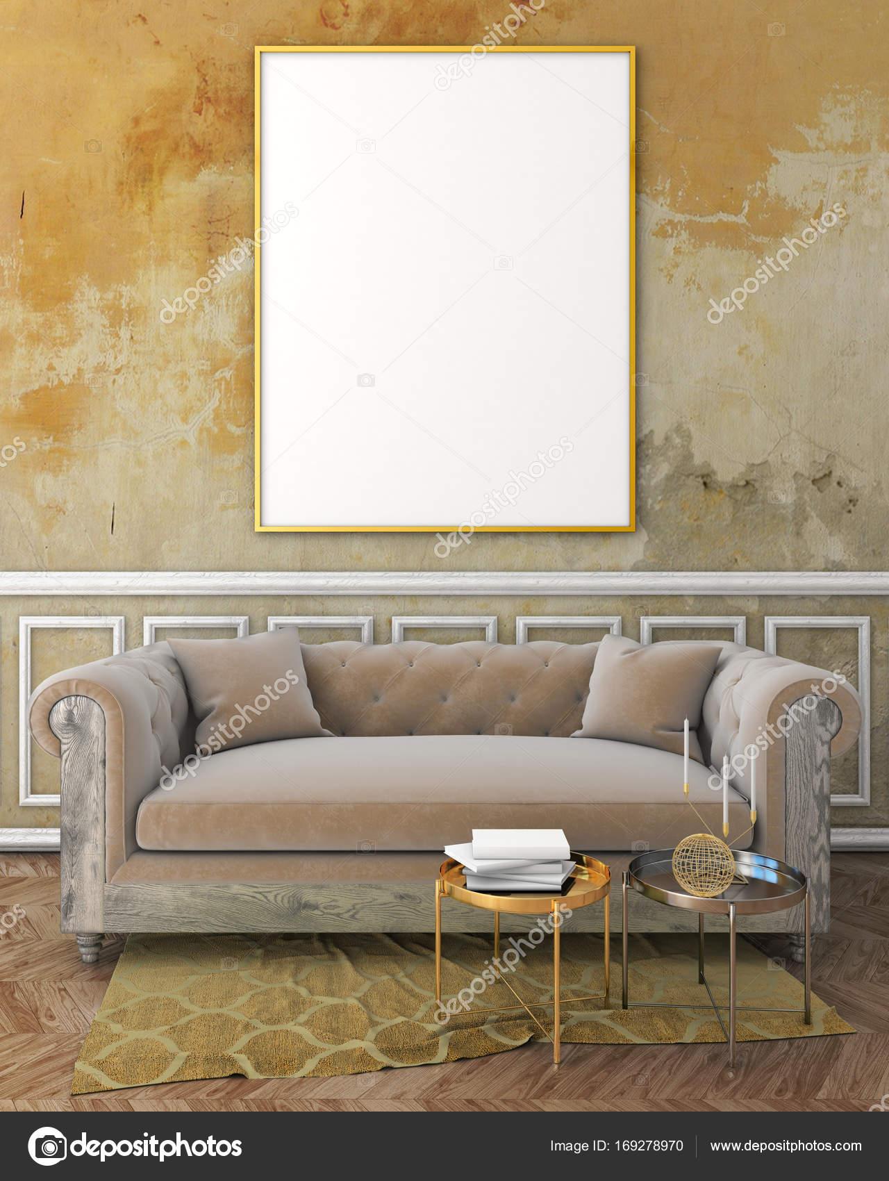 Genial Mock Up Klassisches Interieur Mit Gelben Putz Wand, Weiß Formteile Auf Wand,  Beige Sofa Und Braunen Teppich. 3D Render U2014 Foto Von Kraz_