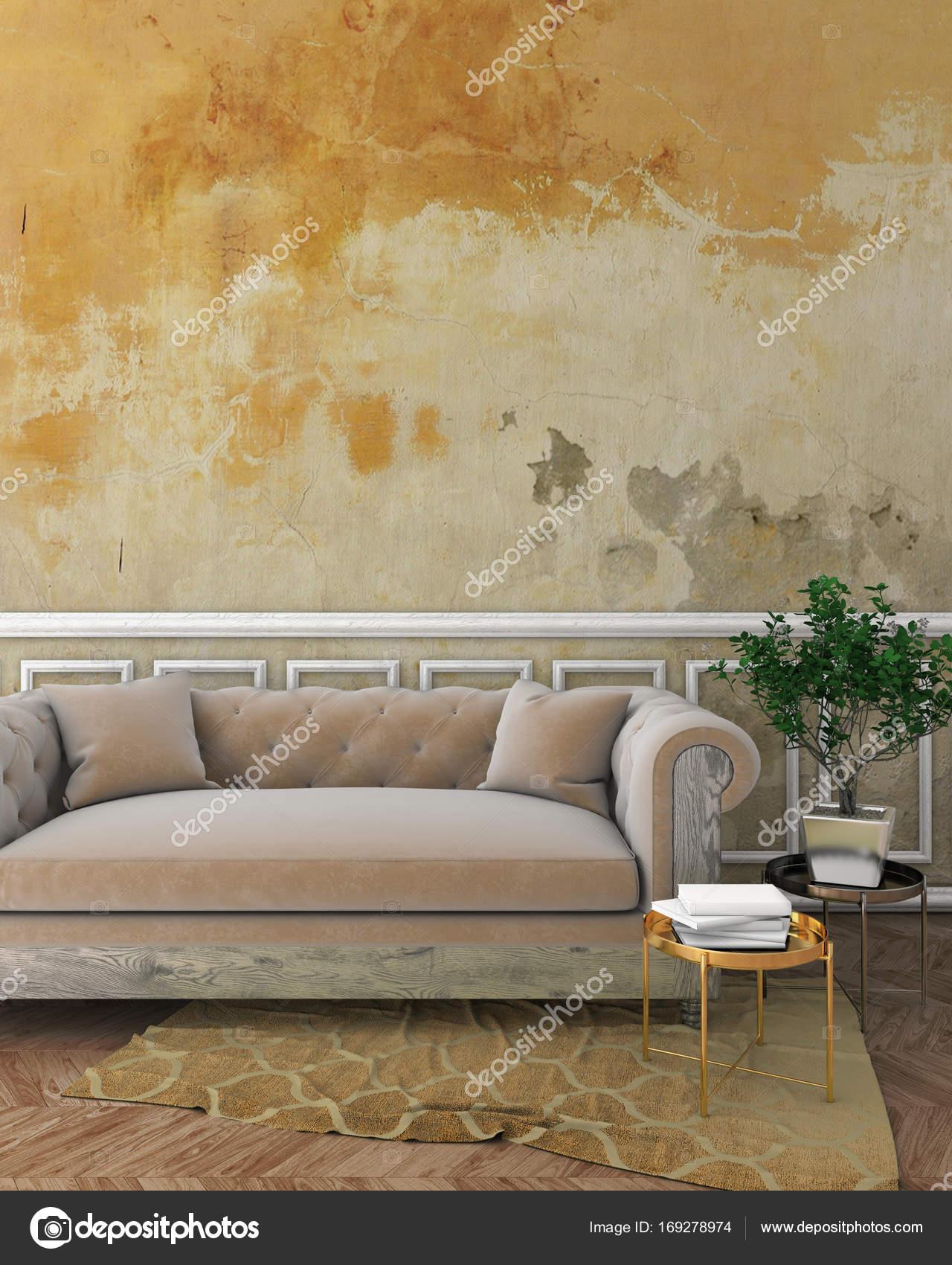 maquette classique intérieur avec moulures murales, blanc plâtre ...