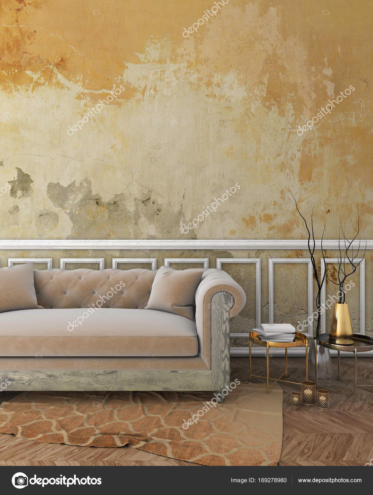 Mock Up Klassisches Interieur Mit Gelben Putz Wand, Weiß Formteile Auf Wand,  Beige Sofa Und Braunen Teppich. 3D Render U2014 Foto Von Kraz_