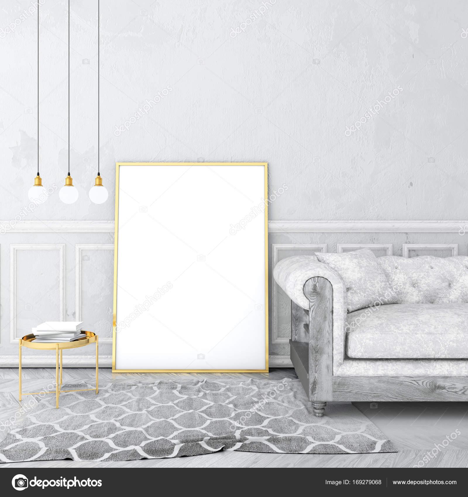 mock-up posterrahmen vintage innen mit alten putz wand und samt sofa