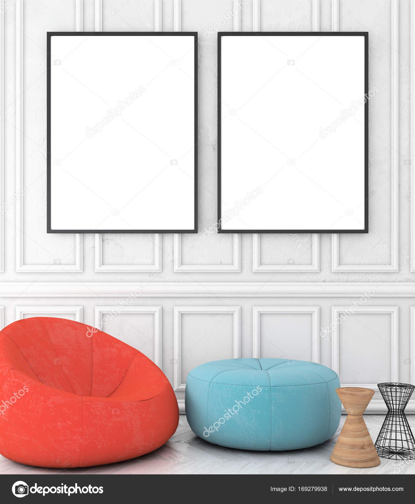 Weißer Parkettboden mock up titelframe auf weiß verputzte wand vintage interieur mit
