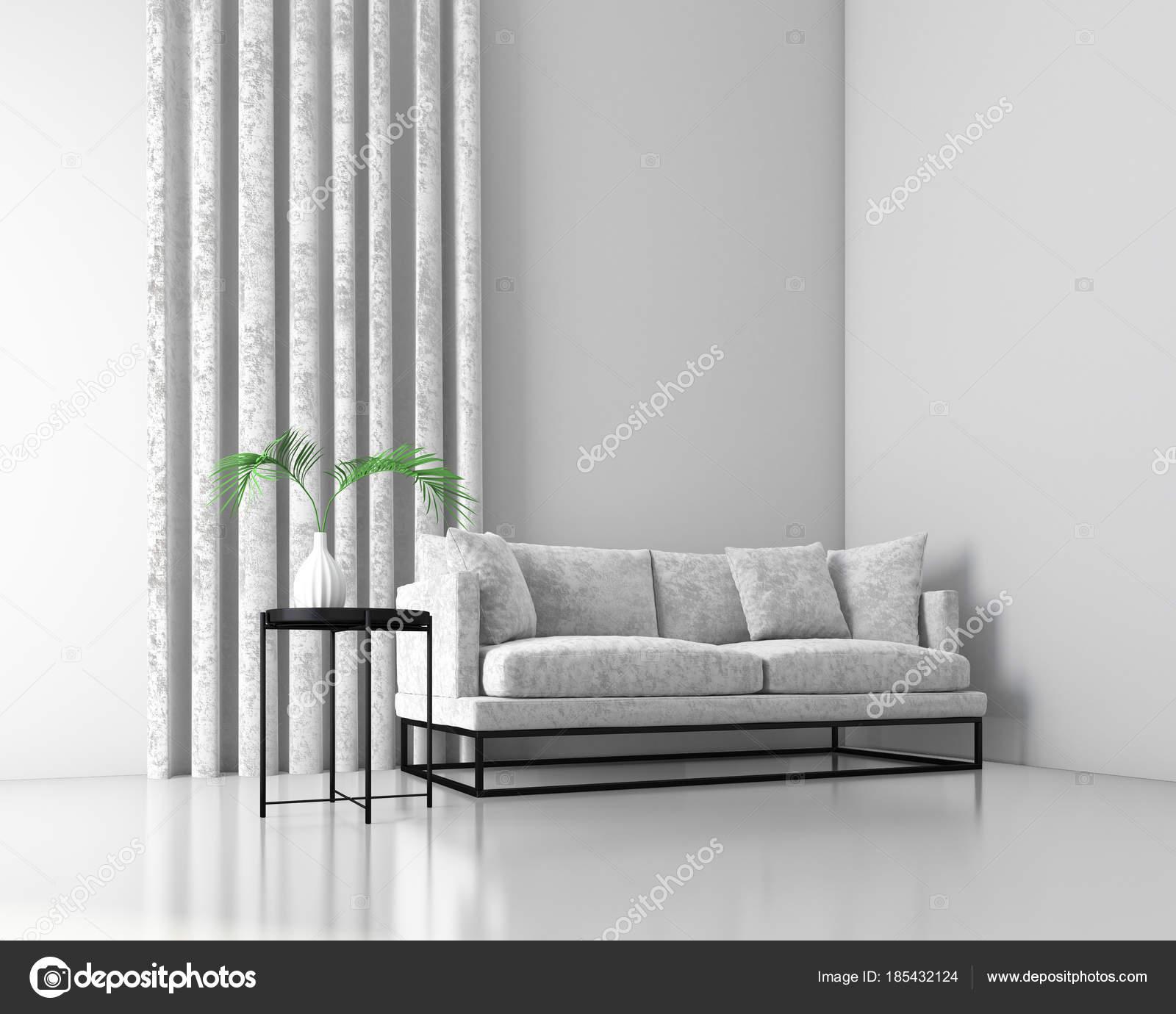 Mock Innenraum Hintergrund Mit Samt Sofa Skandinavischen Stil Render U2014  Stockfoto